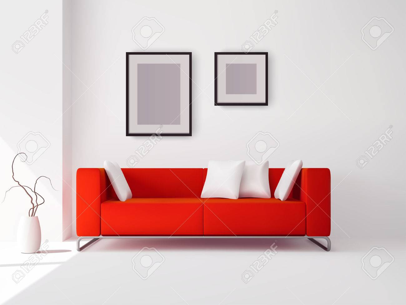 realistic red sofa with white pillows and frames and pot with plant vector illustration stock vector - Red Sofa