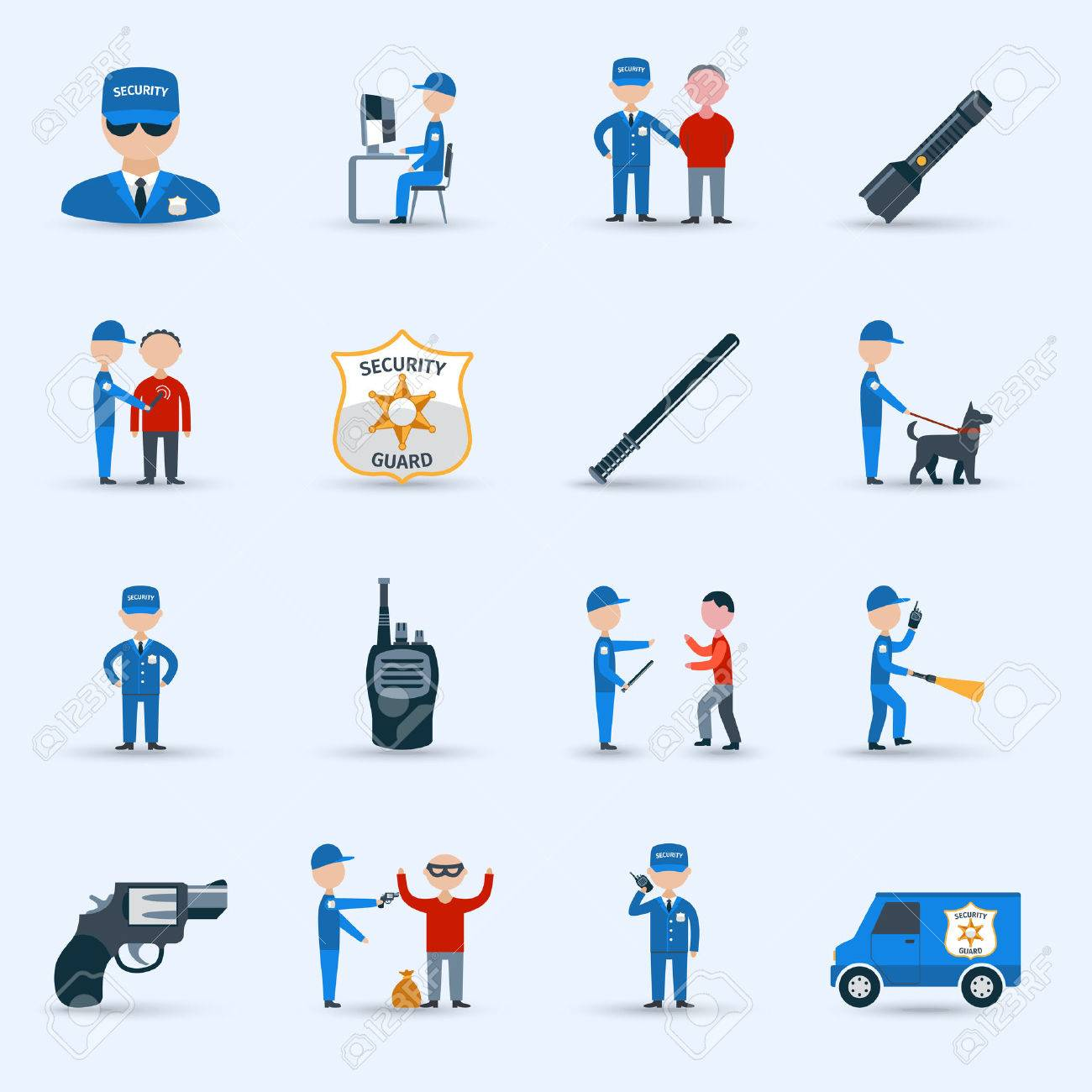 security guard officer service cartoon character icons set security guard officer service cartoon character icons set patrolling and detention duties abstract isolated vector