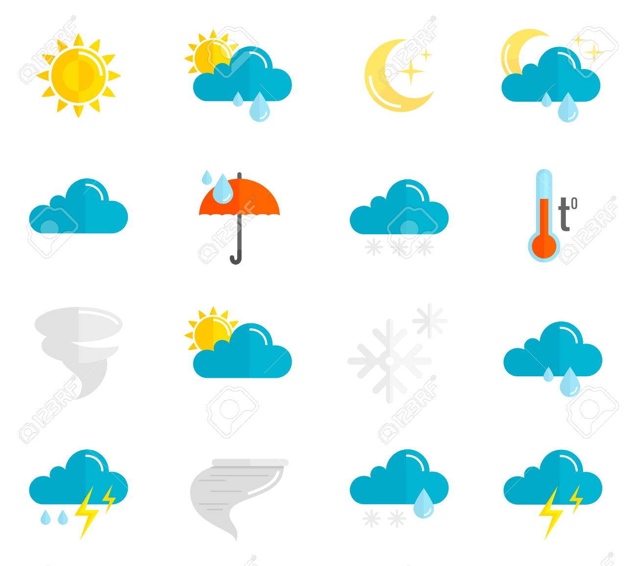 Weather Forecast And Meteorology Symbols Icons Flat Set Isolated