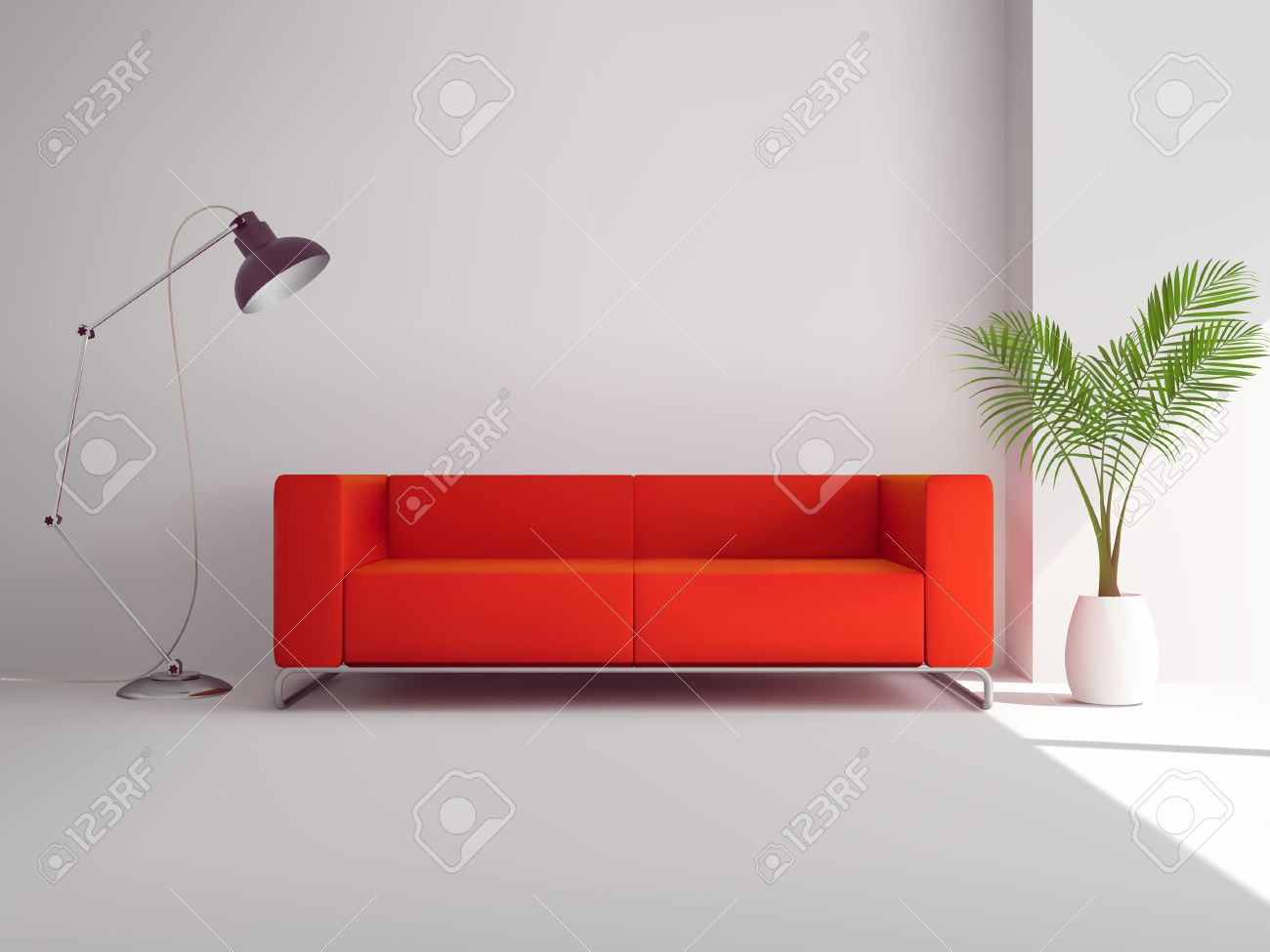 Charmant Realistic Red Sofa With Floor Lamp And Palm Tree In Pot Interior Vector  Illustration Stock Vector