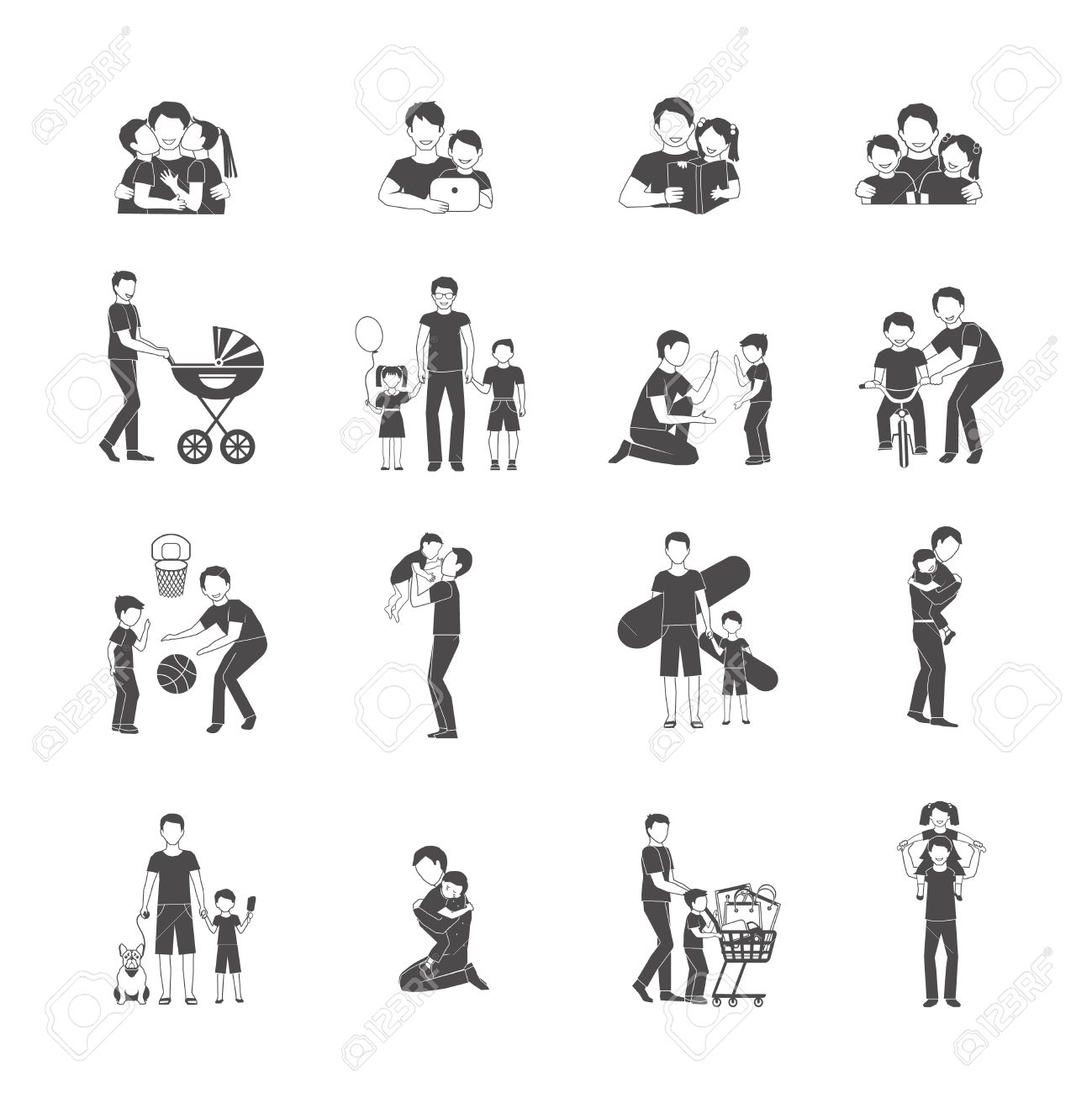 Fatherhood black icon set with happy family holidays symbols fatherhood black icon set with happy family holidays symbols isolated vector illustration stock vector 41536027 biocorpaavc Images