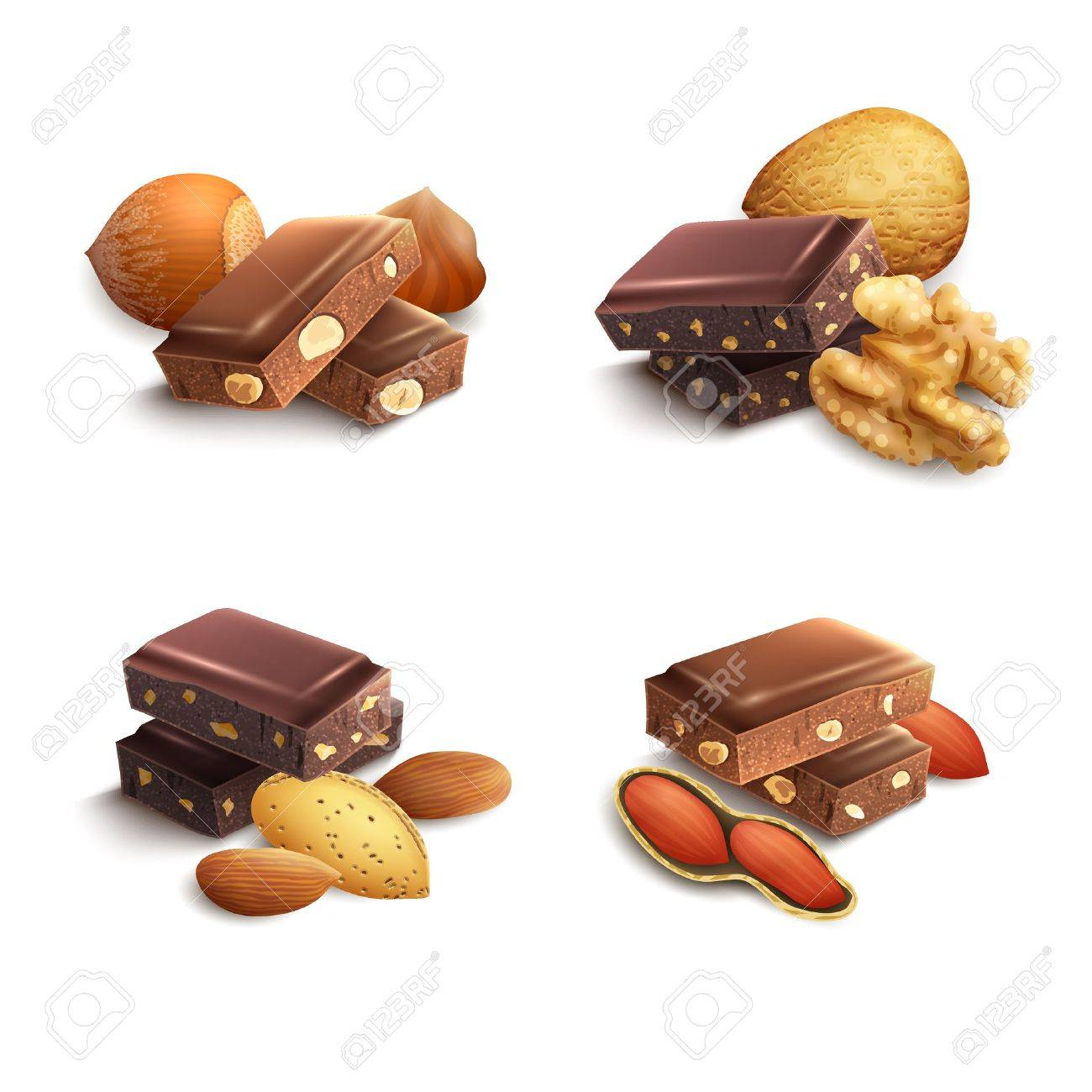 Dark And Milk Chocolate With Nuts Realistic Set Isolated Vector ...
