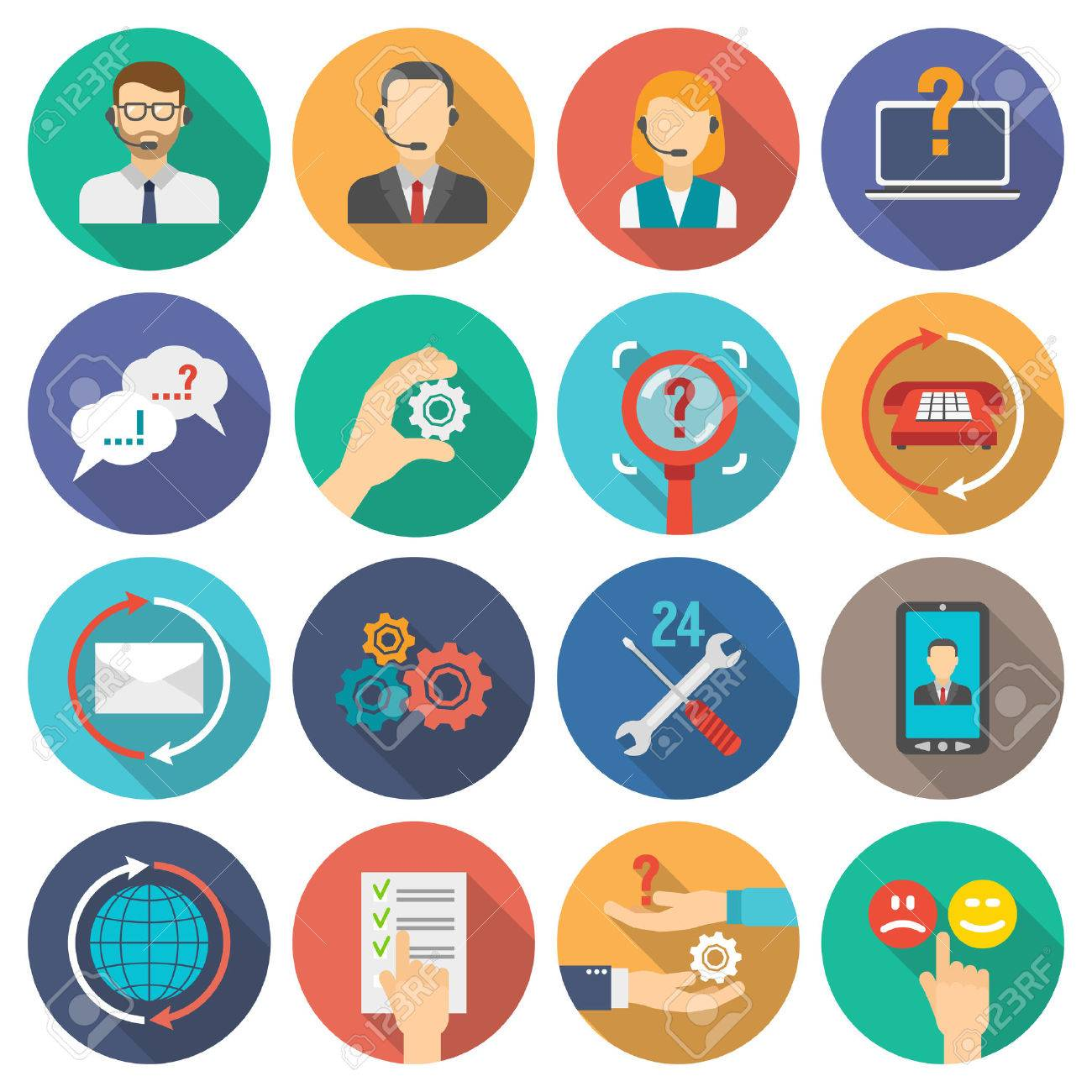 Technical support and customer assistance icons flat set isolated vector illustration - 41536902