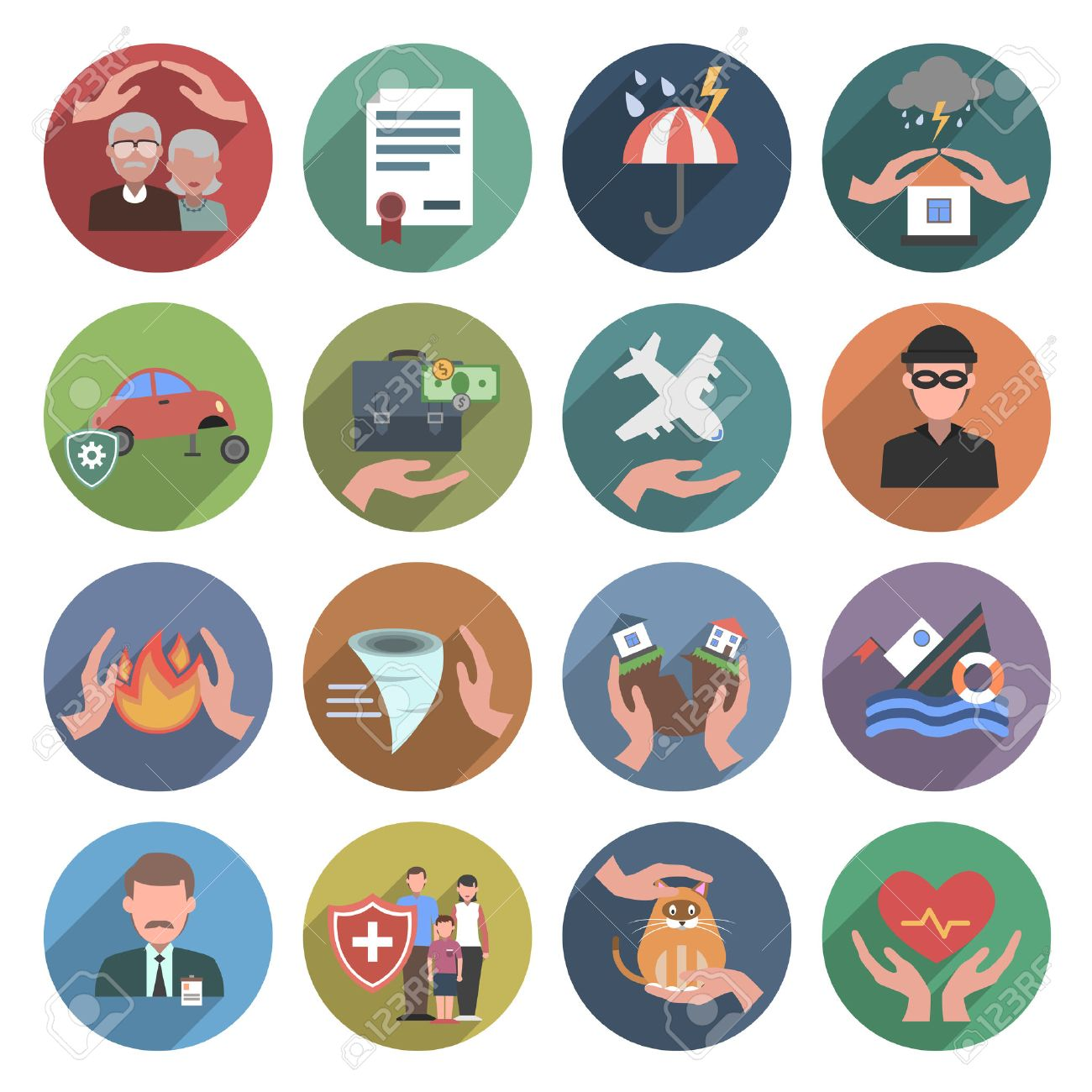 Insurance icons flat set with natural disasters health and property protection symbols isolated vector illustration - 41536934