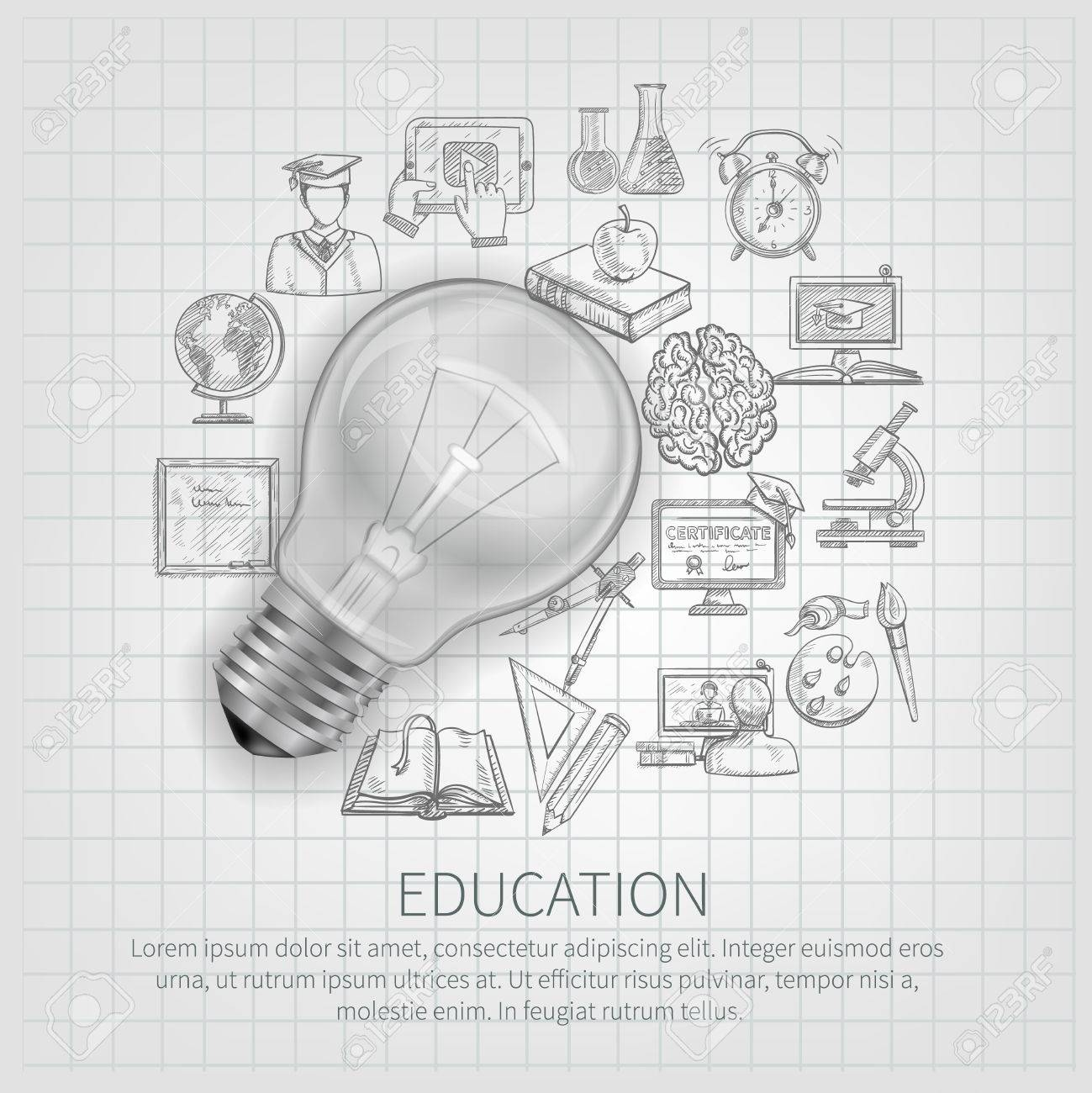 education concept with learning sketch icons and realistic lightbulb