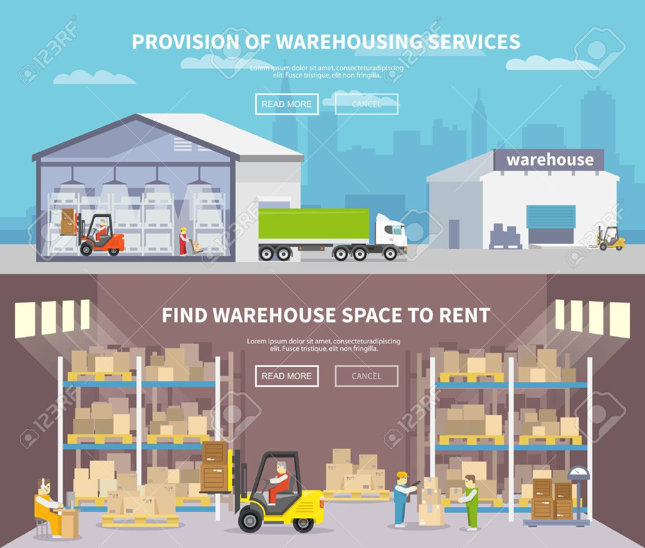Warehouse banner set with shipping and delivery flat elements isolated vector illustration - 41538101