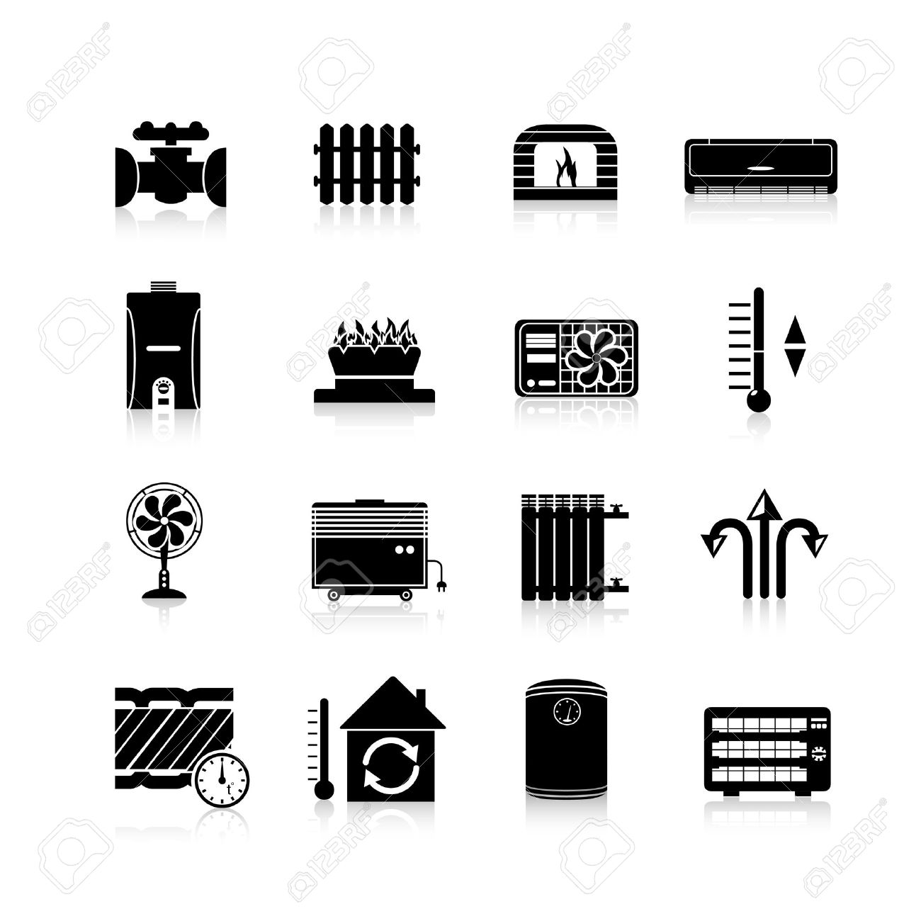 heating cooling icon. heating icons black set with heat and cooling household system symbols isolated vector illustration stock icon