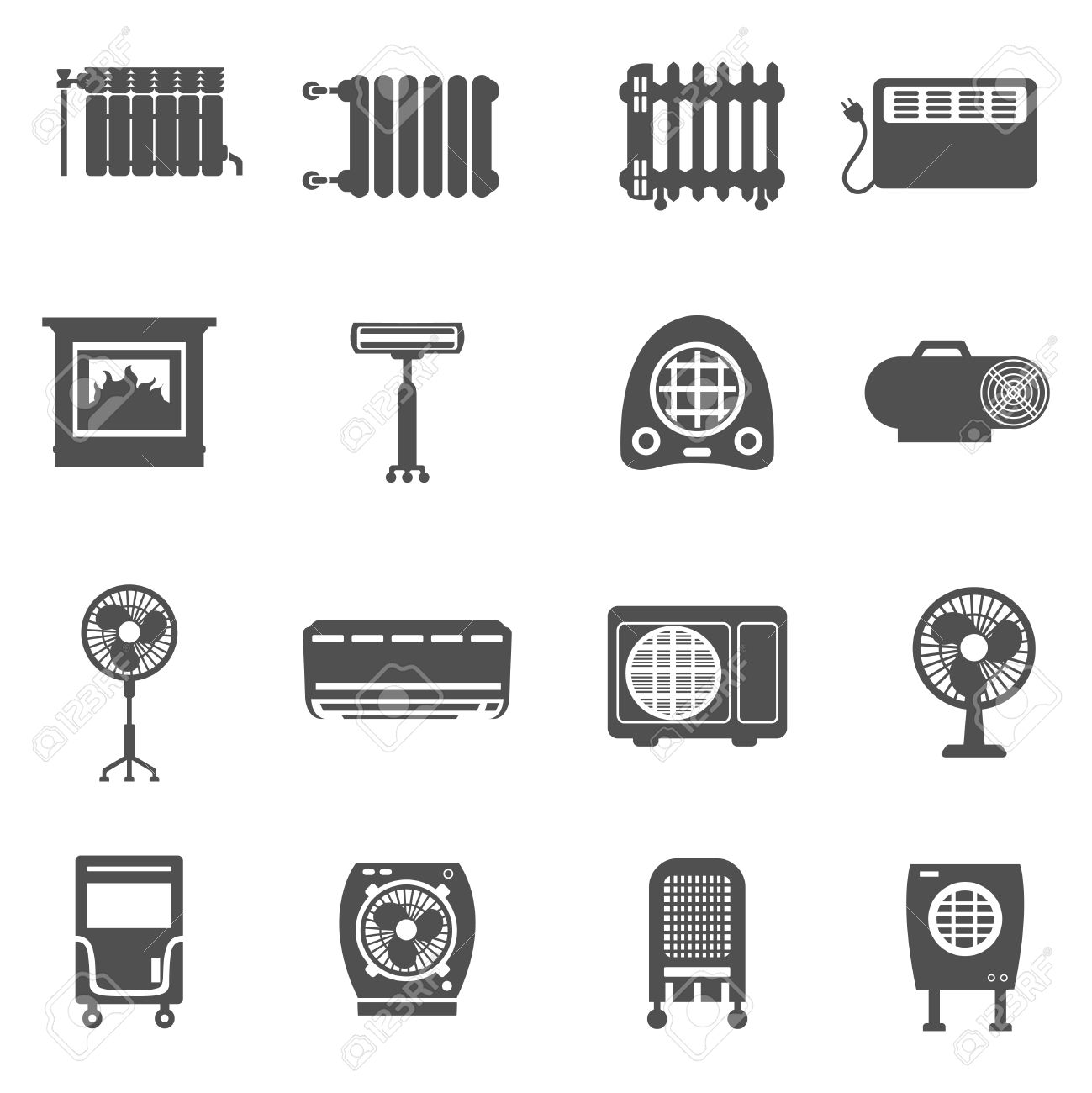 heating cooling icon. heating and cooling conditioning system black icon set isolated vector illustration stock - 41538850 s