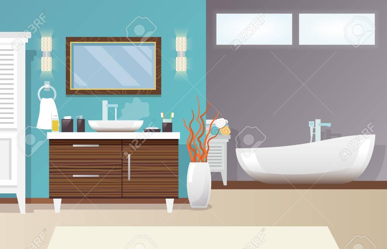 Moderne badkamer interieur met meubilair en hygiëne accessoires