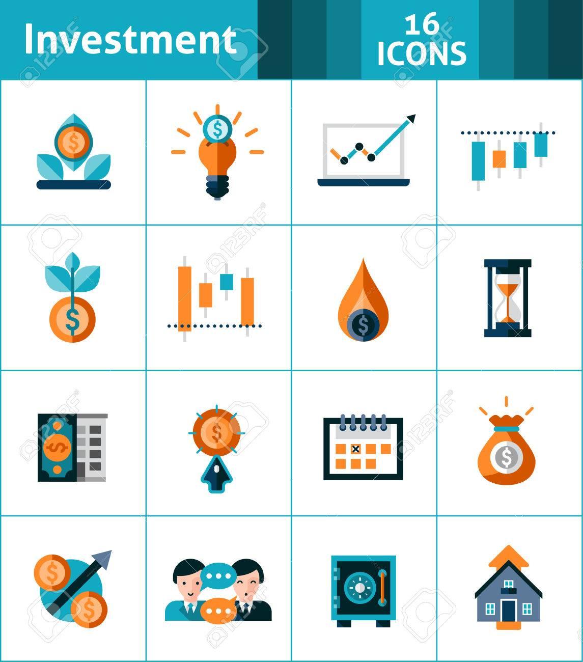 Investment Icons Set With Market Analysis Stock Exchange Symbols