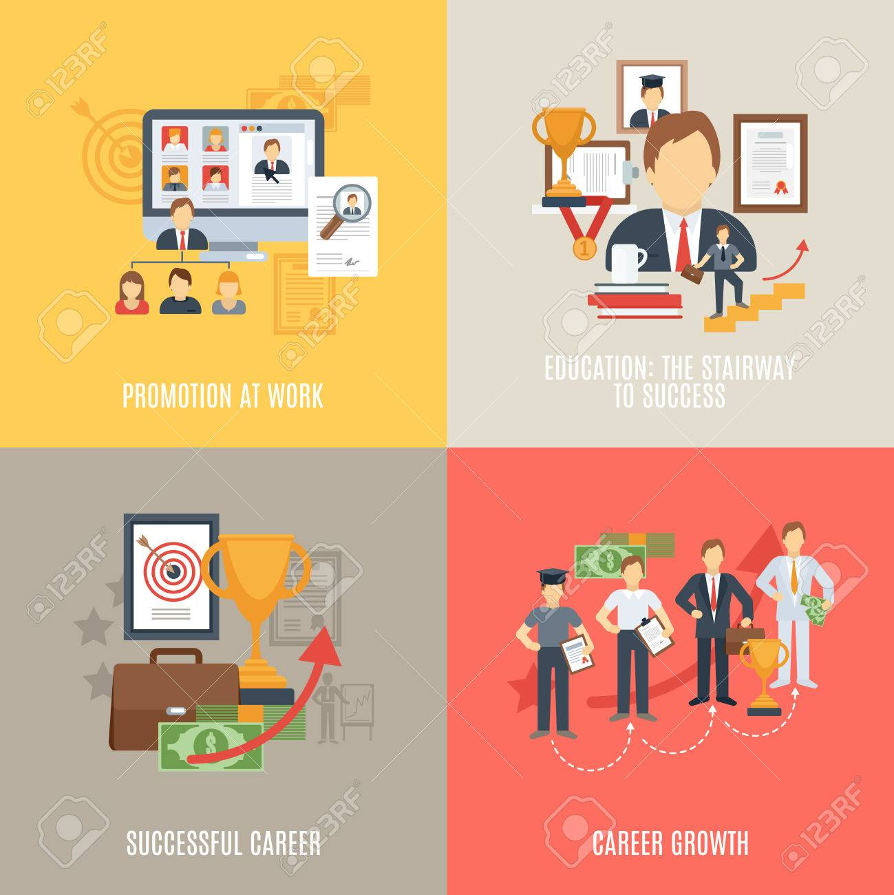 career design concept set work promotion flat icons isolated career design concept set work promotion flat icons isolated vector illustration stock vector 41891660