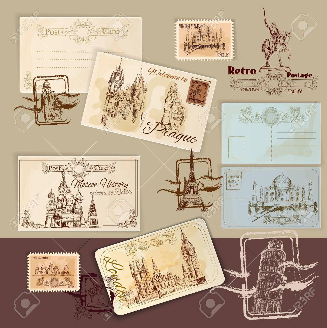 Vintage Postcards Template Set With Hand Drawn Landmarks And