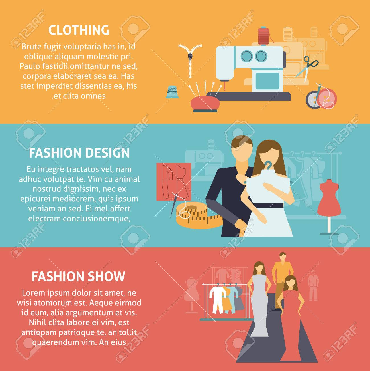 clothes designer horizontal banners set with clothing production