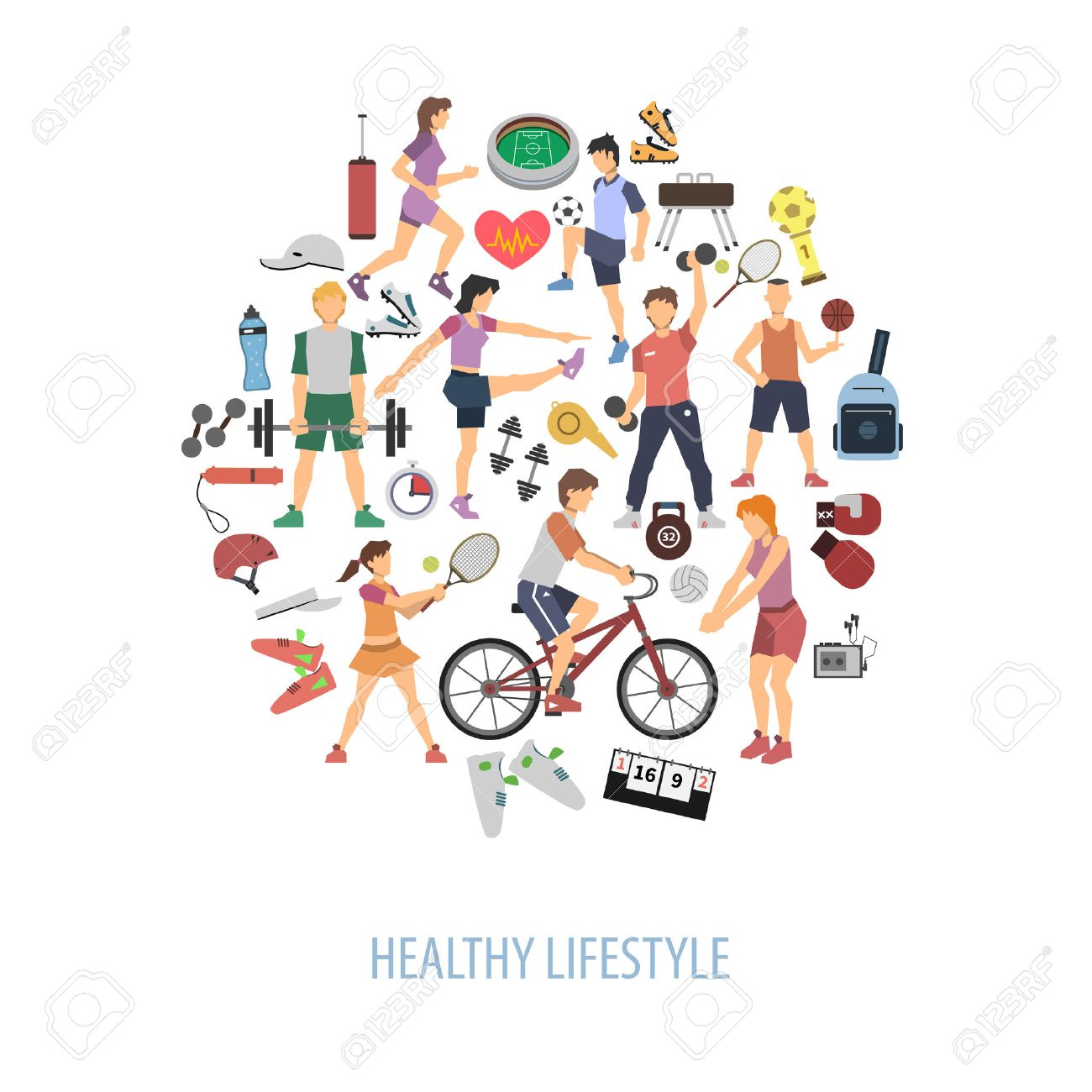 Healthy lifestyle concept with people playing sport games flat vector illustration - 41892056