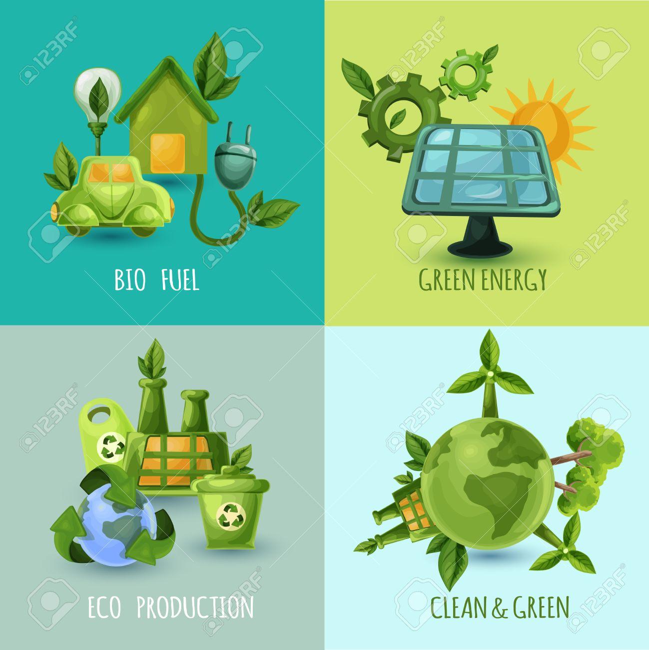 バイオ燃料グリーン エネルギー エコ生産漫画アイコン分離ベクトル