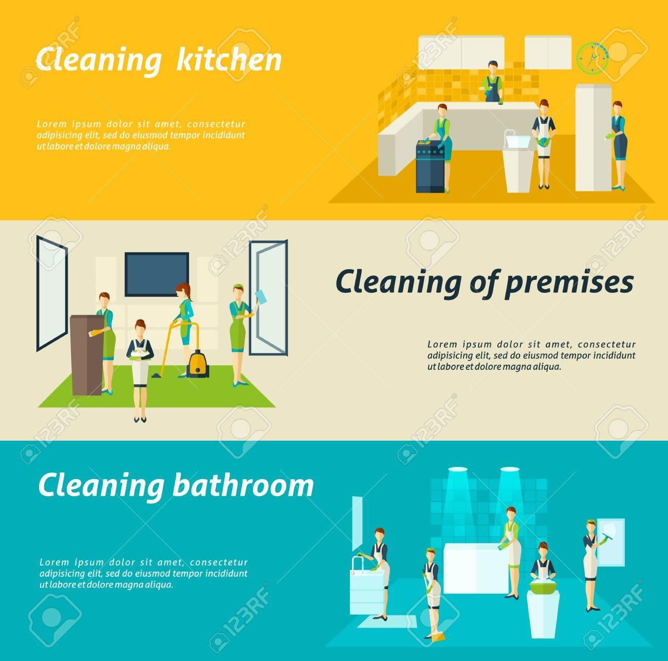Lokal Küche Und Badezimmer, Reinigen, Waschen Und Wischen Farb ...