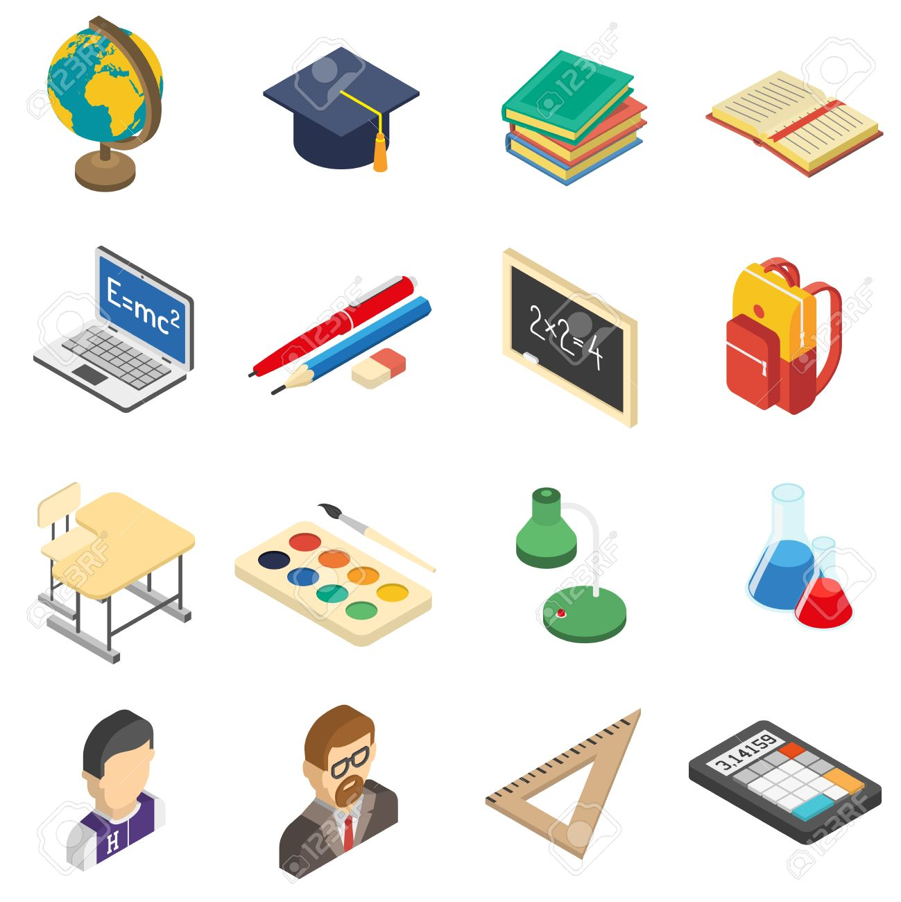 School bag diagram - School Bag School Education Accessories Isometric Icons Set With Calculator And Retort In Chemistry Lab