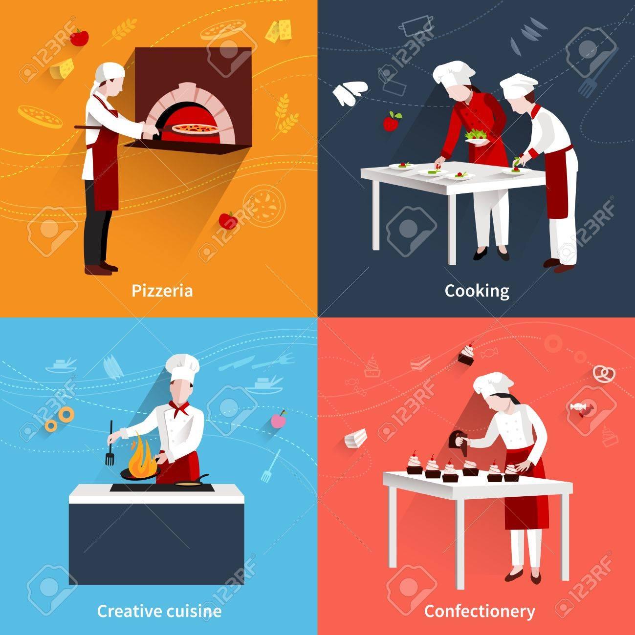 Cocinar Concepto De Diseño Conjunto Con La Cocina Creativa Pizzería ...