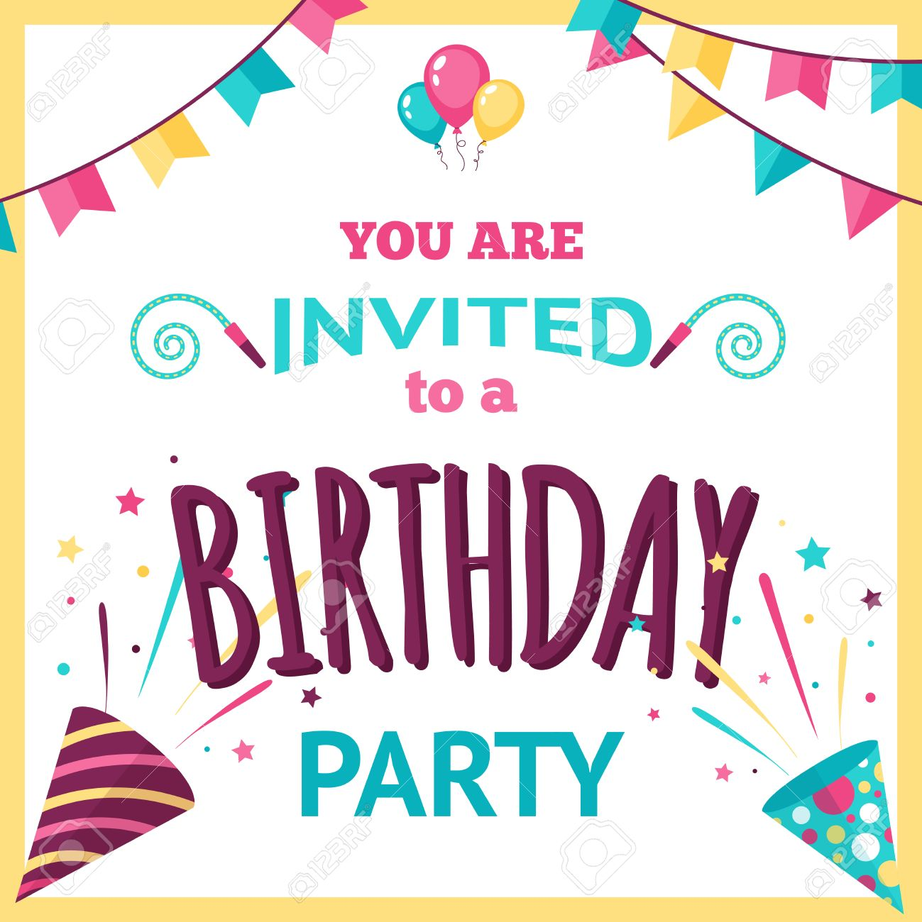Birthday party invitation template with holiday decoration elements birthday party invitation template with holiday decoration elements vector illustration stock vector 41896199 stopboris Gallery