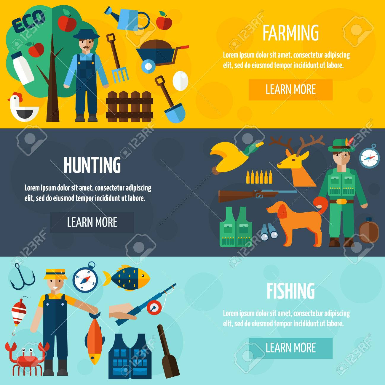 job hunter images stock pictures royalty job hunter photos job hunter fisherman hunter and farmer accessories flat horizontal banner set isolated vector illustration