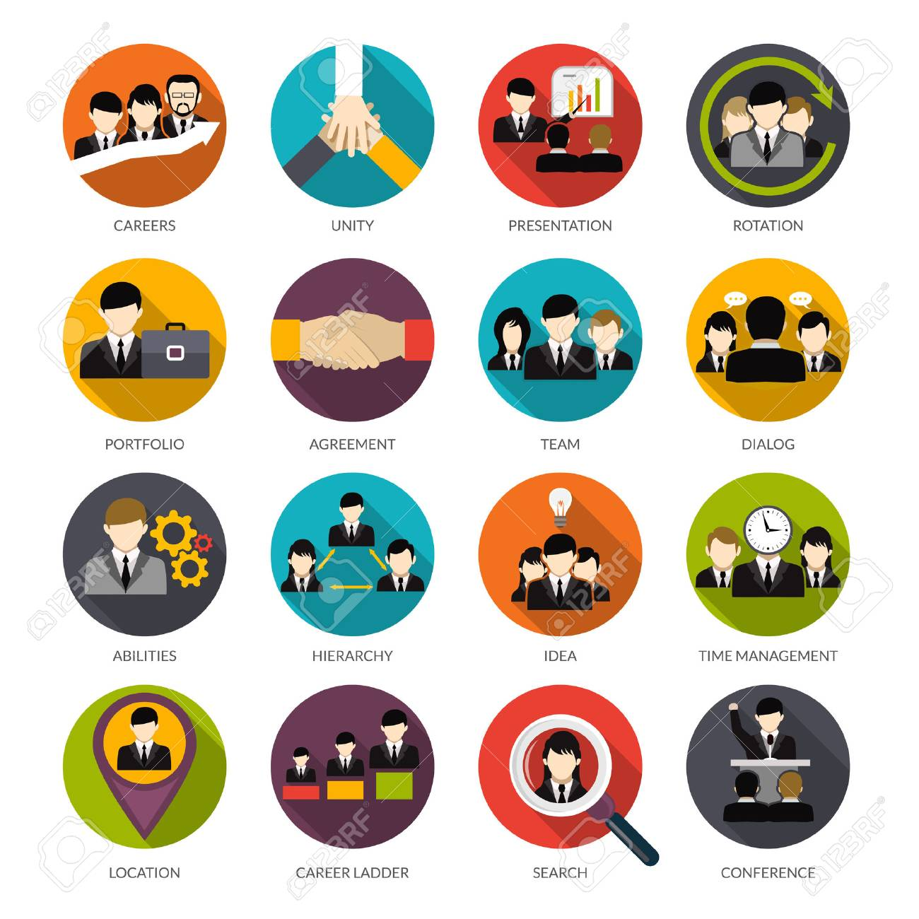 Human Resources Flat Icons Set With Office Hierarchy Team ...