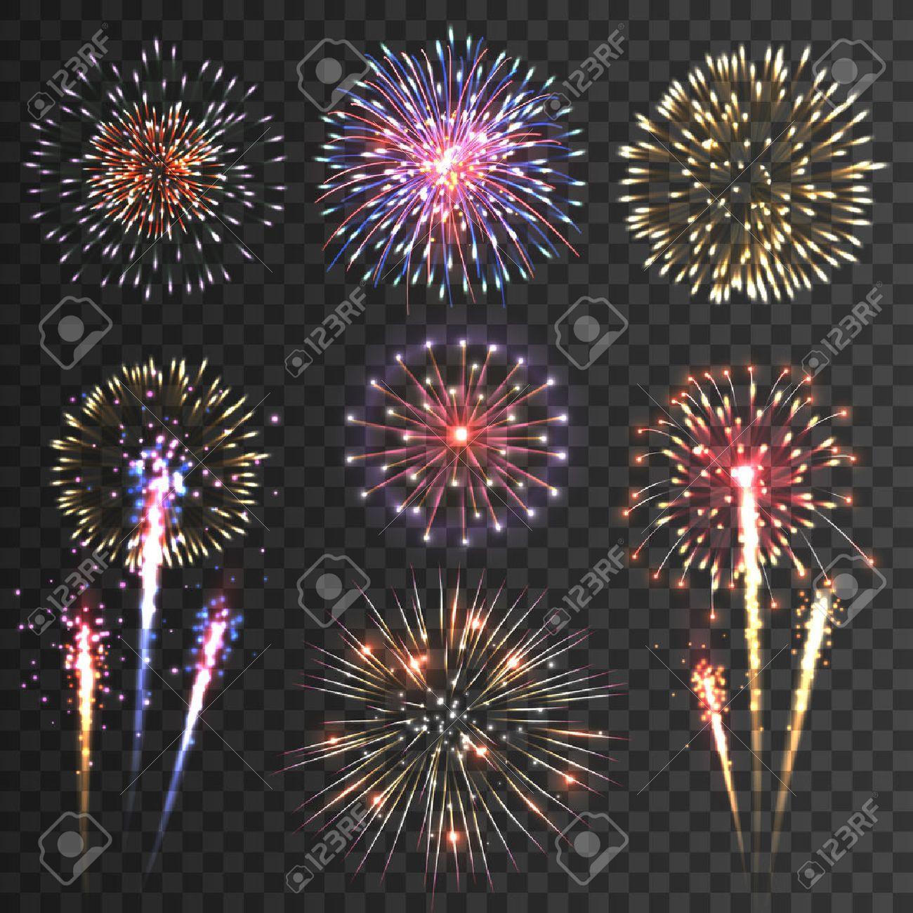 Festive patterned firework  bursting  in various shapes sparkling pictograms set  against black background abstract vector isolated illustration Stock Vector - 41896472