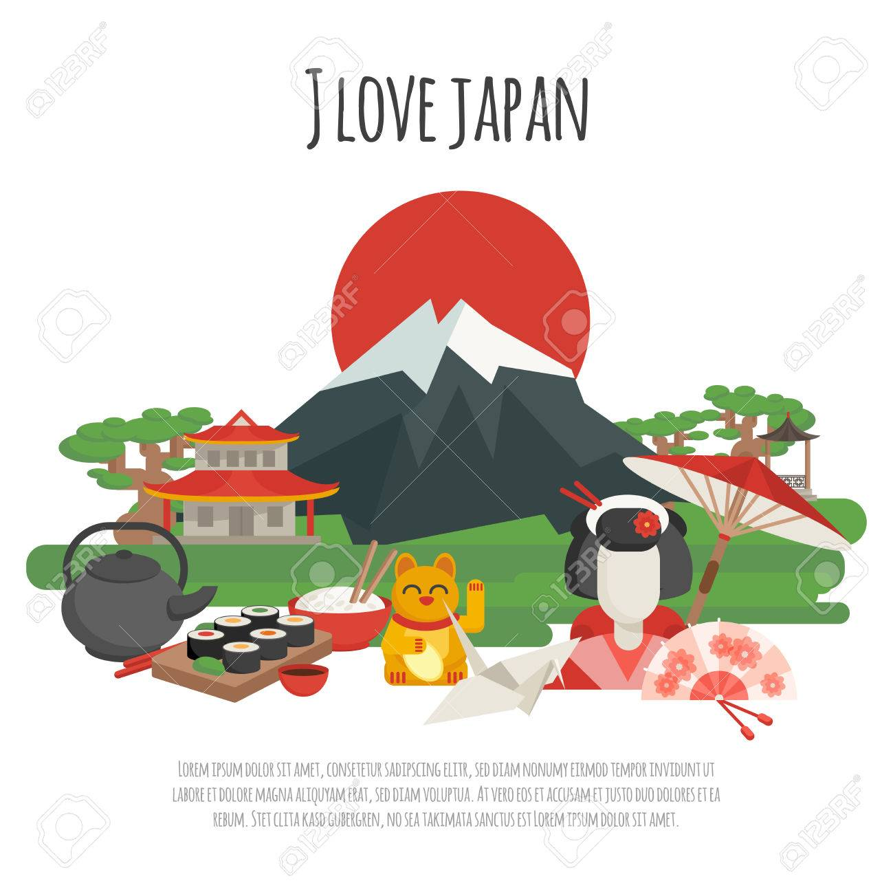 japanese national symbols with i love japan tagline color poster