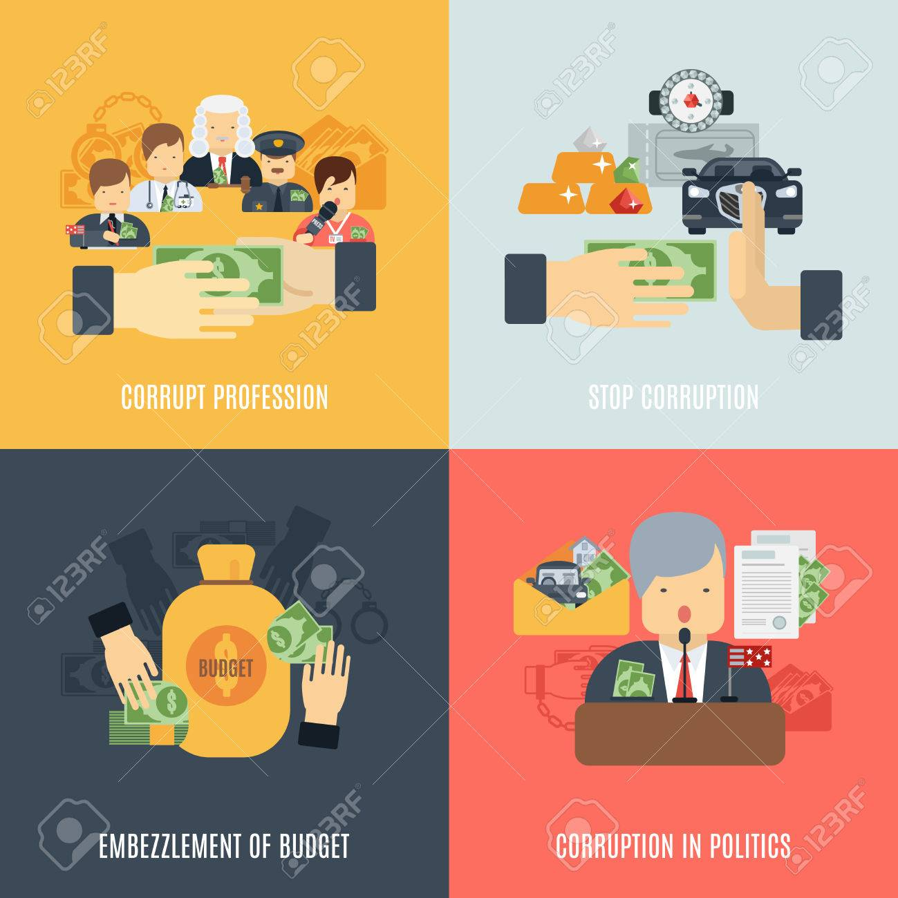 workplace discrimination images stock pictures royalty workplace discrimination corruption design concept set budget embezzlement flat icons isolated vector illustration