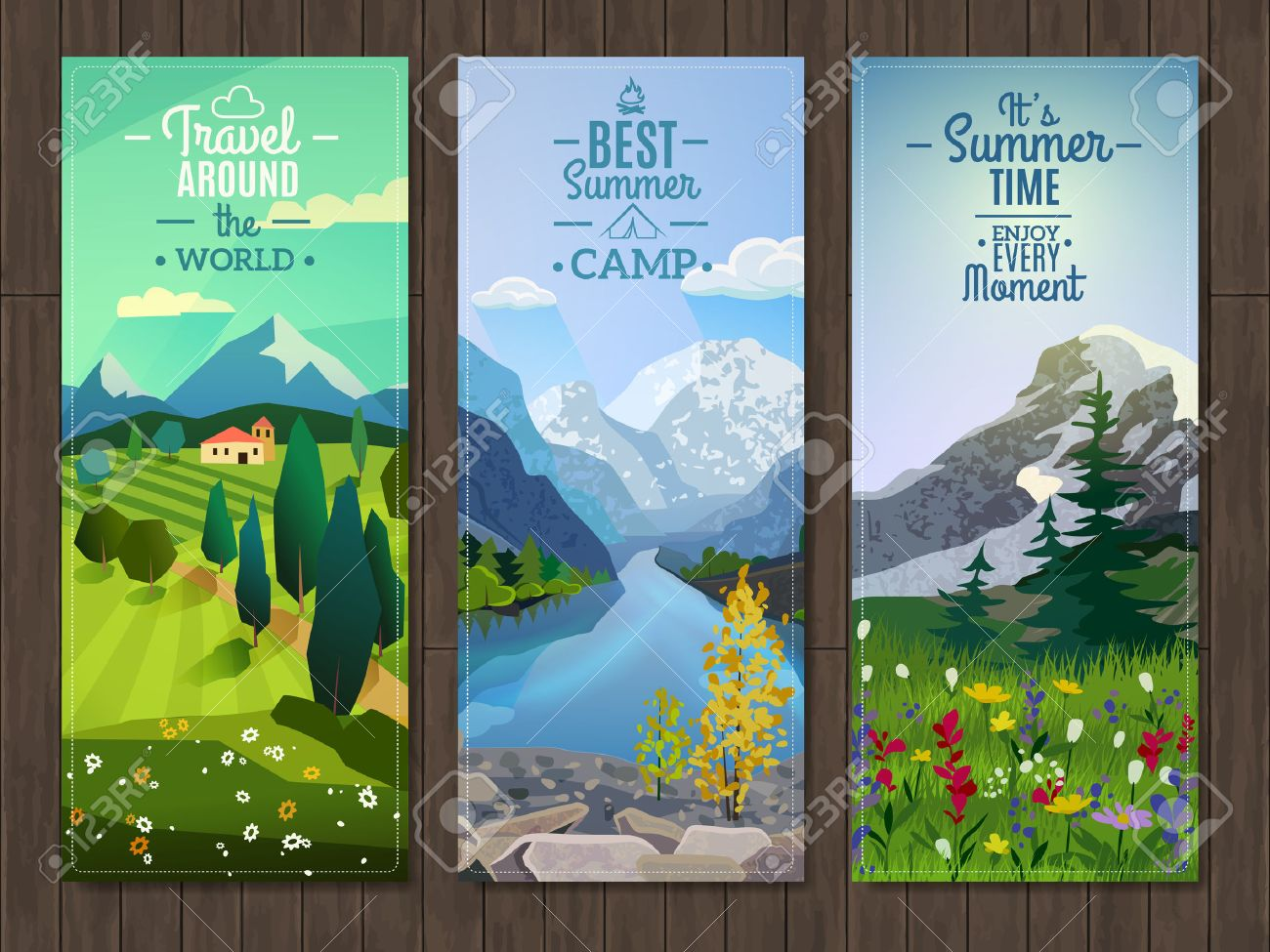 Best Active Summer Vacation Destinations Travel Agency Advertisement 3 Vertical Landscape Banners Set Abstract Isolated Vector