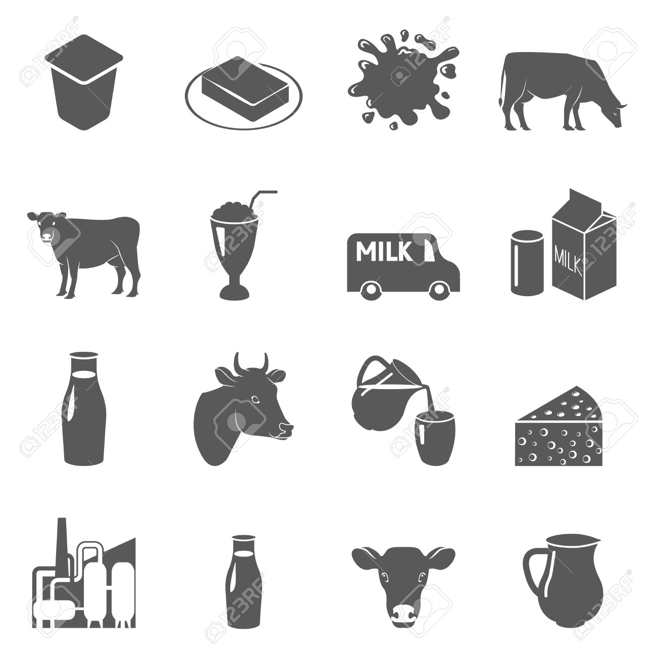 Milk cow and dairy products black icons set with sour cream and