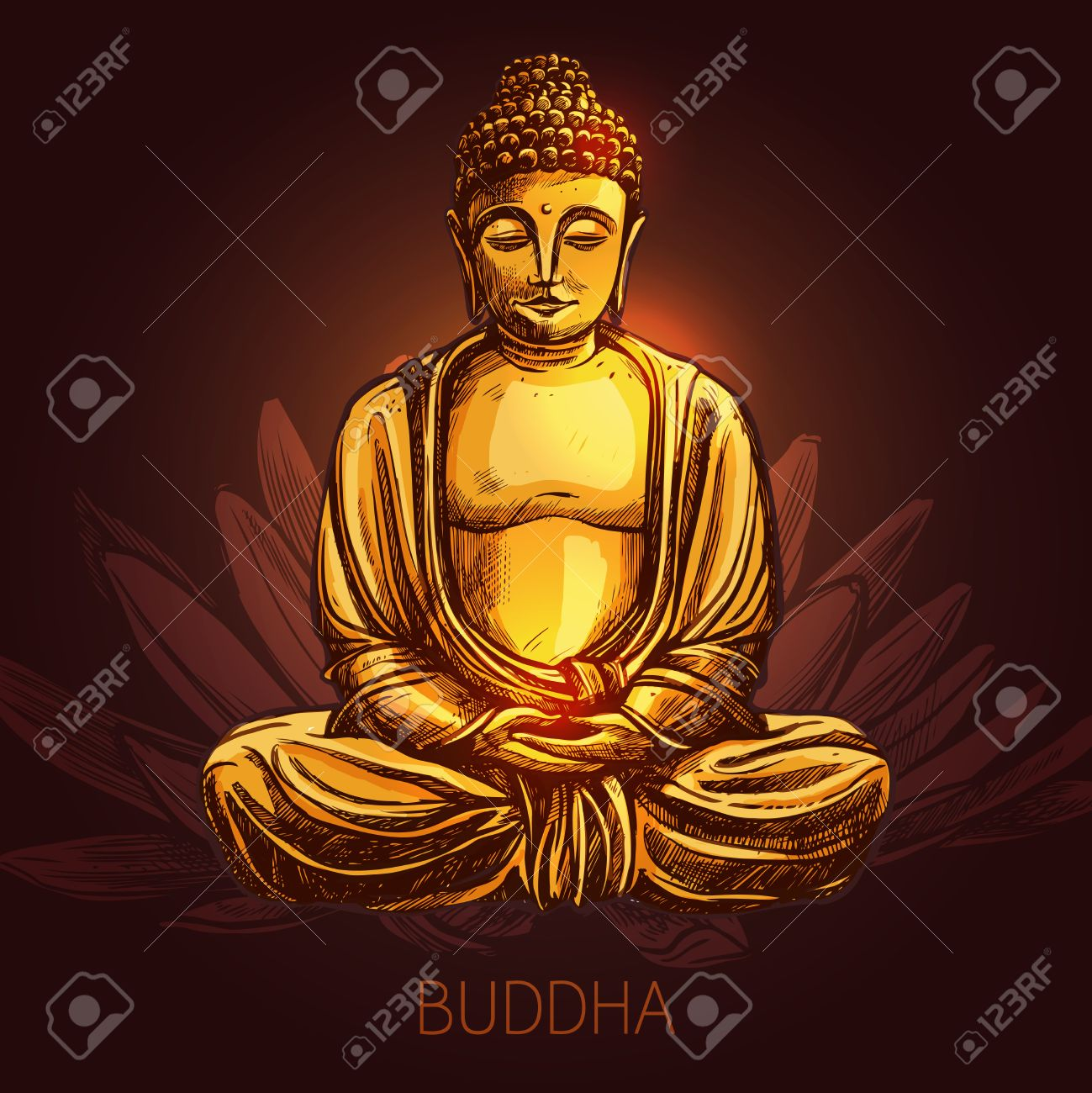 Buddha God Sitting In Lotus Position On Flower Sketch Vector