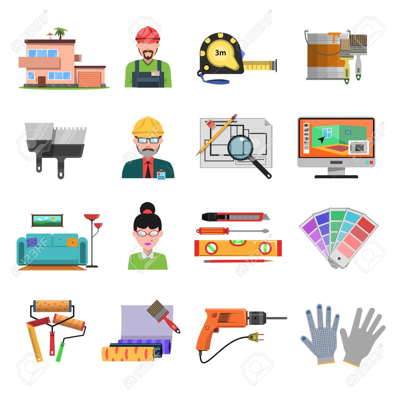 Interior Design Flat Icons With Designer And Architecture Tools Isolated  Vector Illustration Stock Vector   42462297