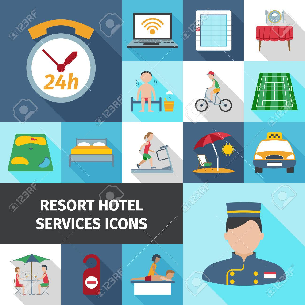 Hotel And Resort Services Staff Restaurant Sport Cleaning Symbol Flat Color Icon Set Isolated Vector Illustration