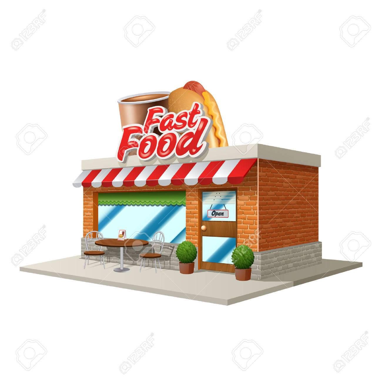 Building cartoon clipart restaurant building and restaurant building - 3d Fast Food Restaurant Or Cafe Building Isolated On White Background Vector Illustration Stock Vector