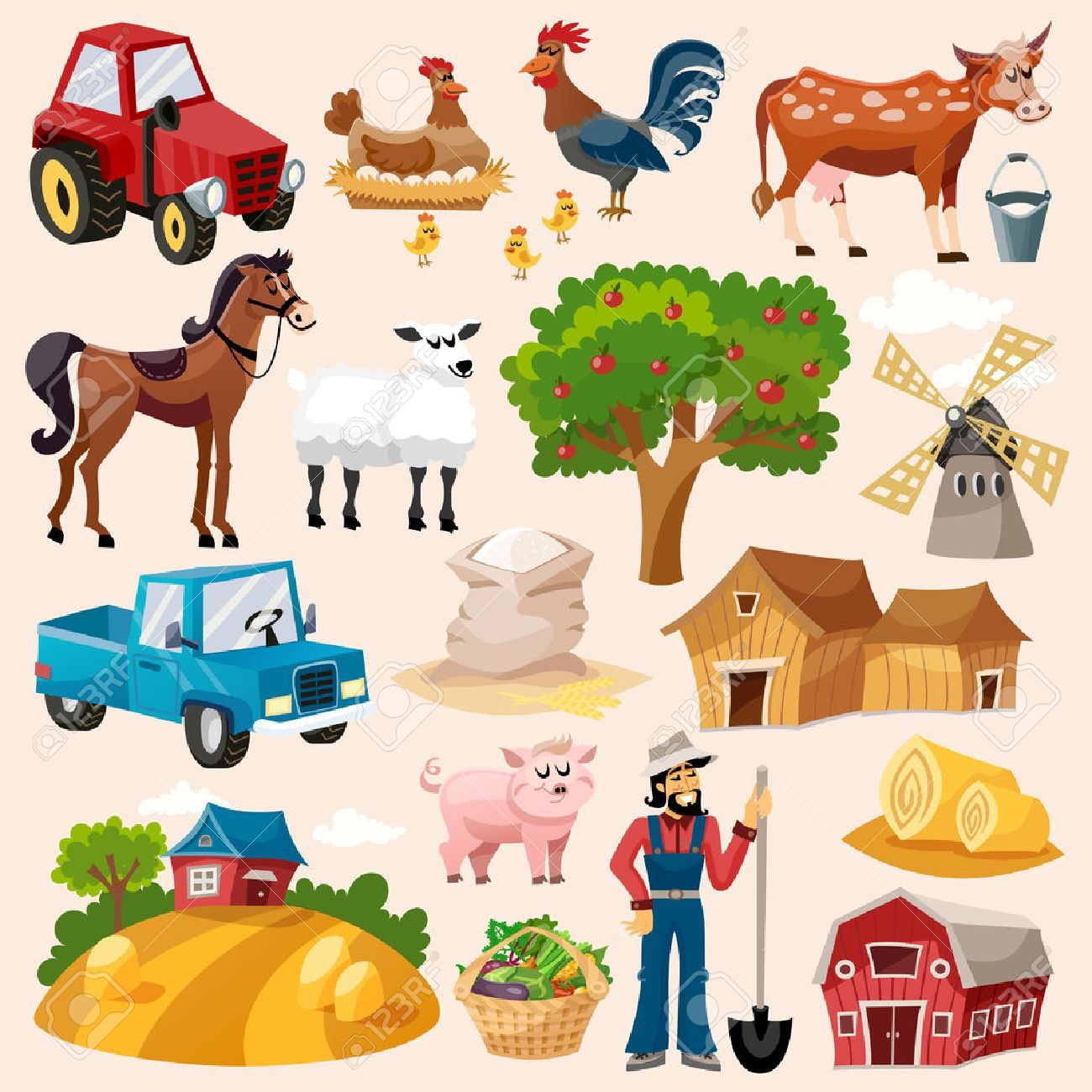 Farm decorative icon set with windmill cow pig and farmer cartoon isolated vector illustration - 42462388