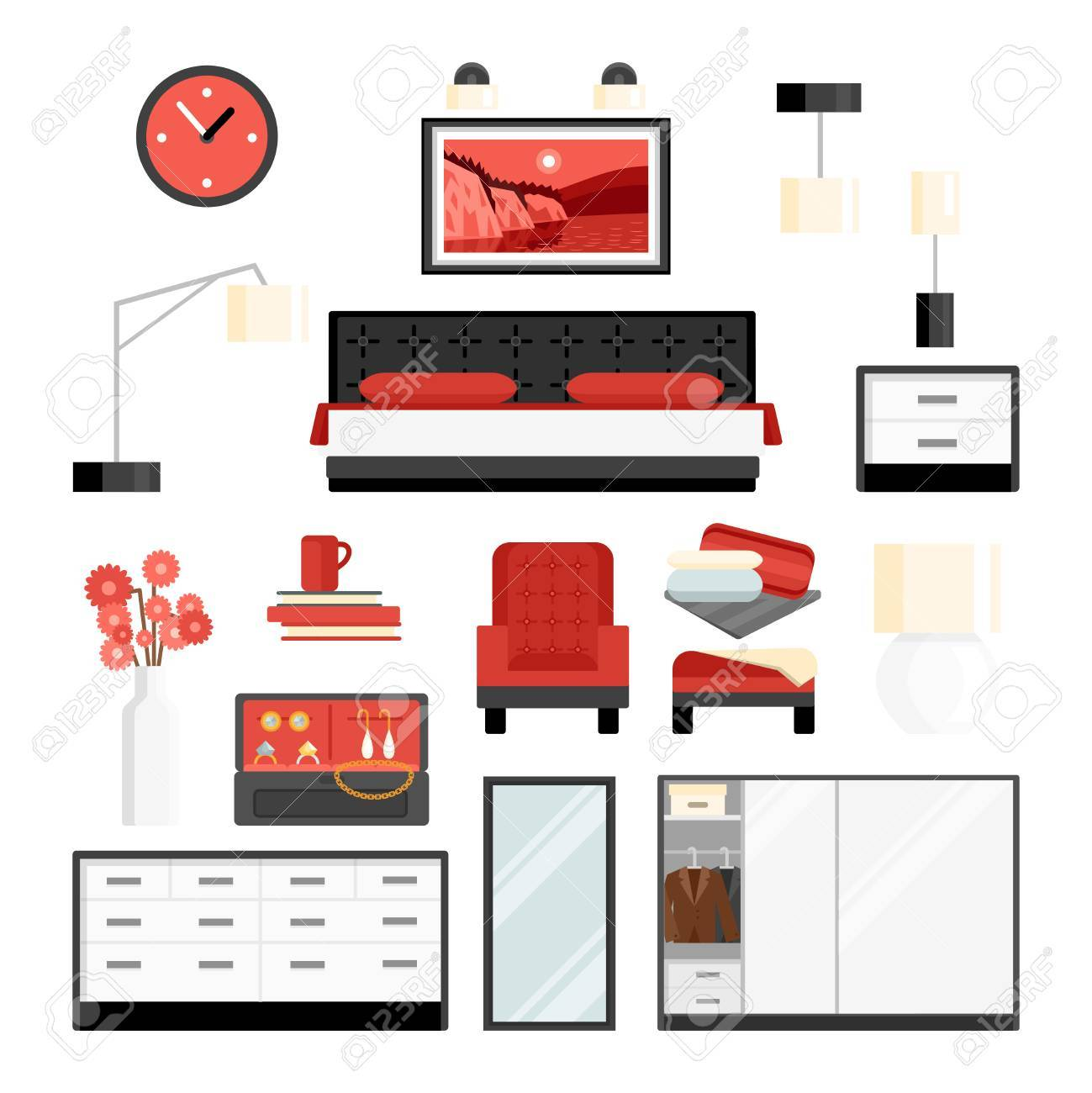 bedroom furniture clipart. bedroom furniture and accessories watch lamp decoration flat color decorative icon set isolated vector illustration clipart