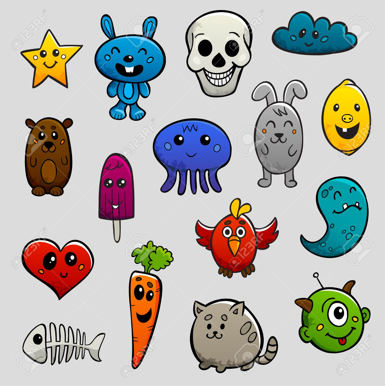 Graffiti Cartoon Characters Abstract Animals And Fruits Flat Bright Color Icon Set Isolated Vector Illustration Stock