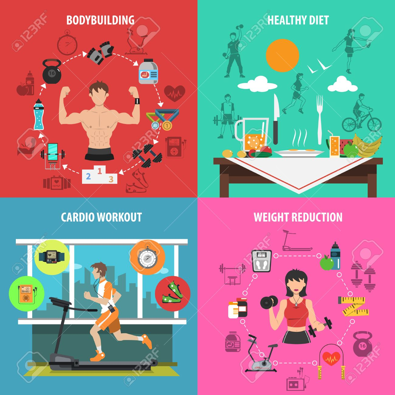 Gym Design Concept Set With Bodybuilding Healthy Diet Cardio Workout Weight Reduction Flat Icons Isolated Vector