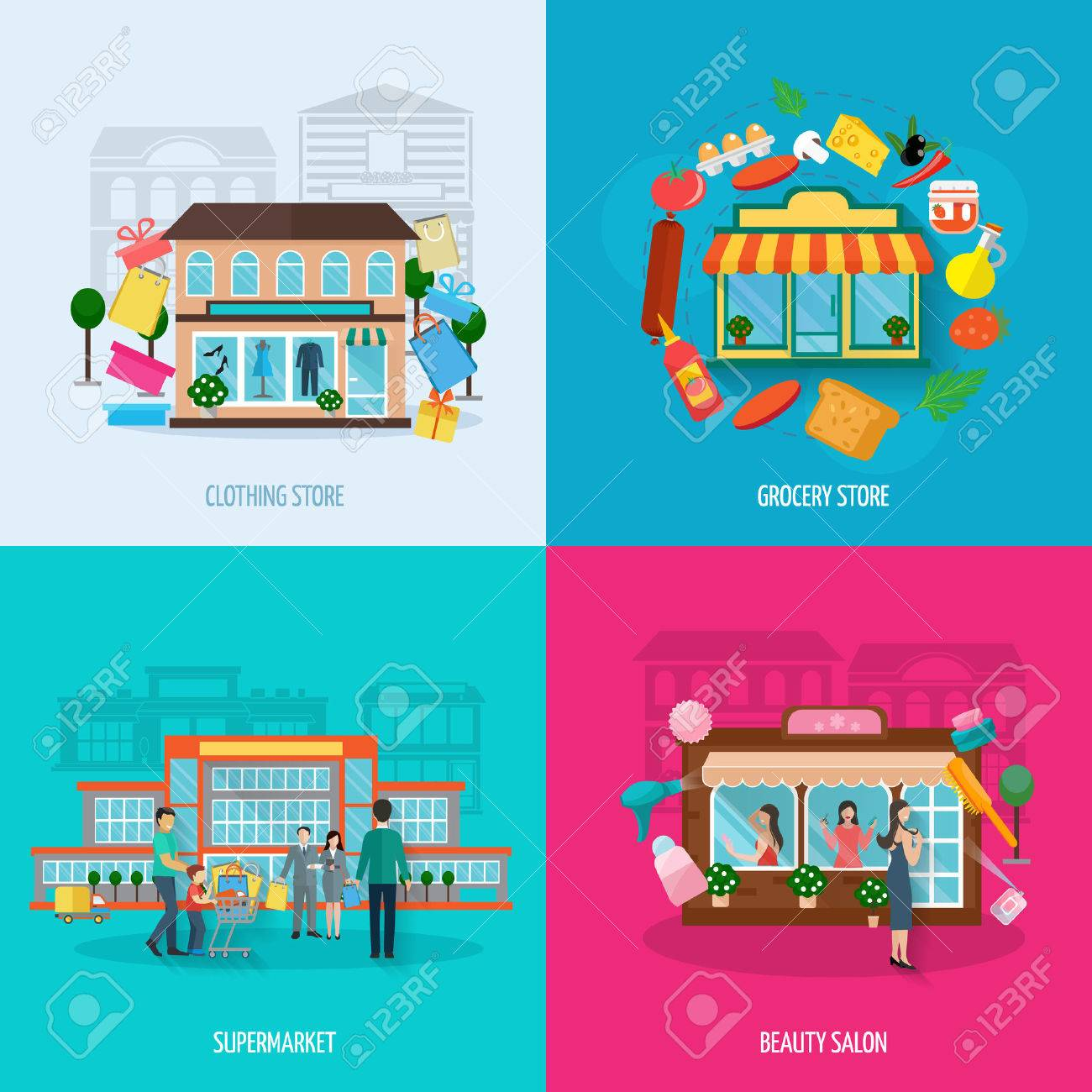 Different Stores Buildings Such As Clothing Grocery Beauty Salons And Supermarkets Icons Set Flat Isolated Vector
