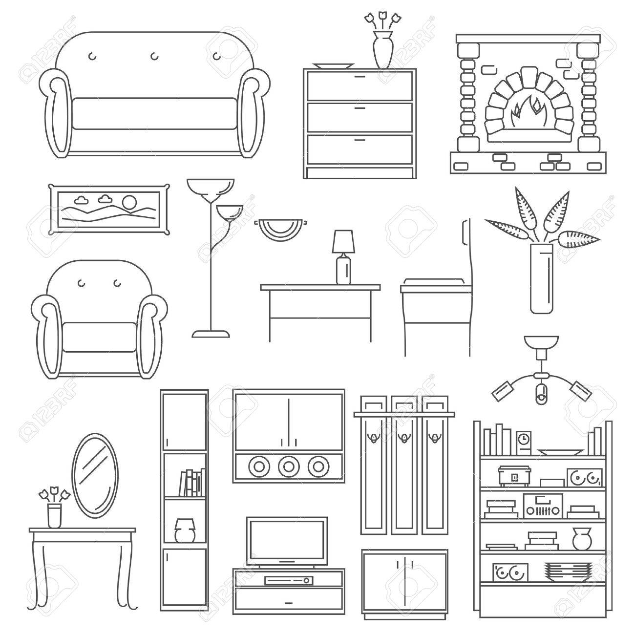 Interior furniture icons line set with chair table lamp isolated interior furniture icons line set with chair table lamp isolated vector illustration stock vector 42462490 geotapseo Gallery