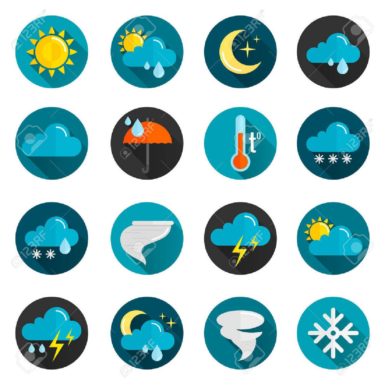 5503a3d07b Vector - Weather conditions signs rain cloud sun and temperature flat color  icon set isolated vector illustration