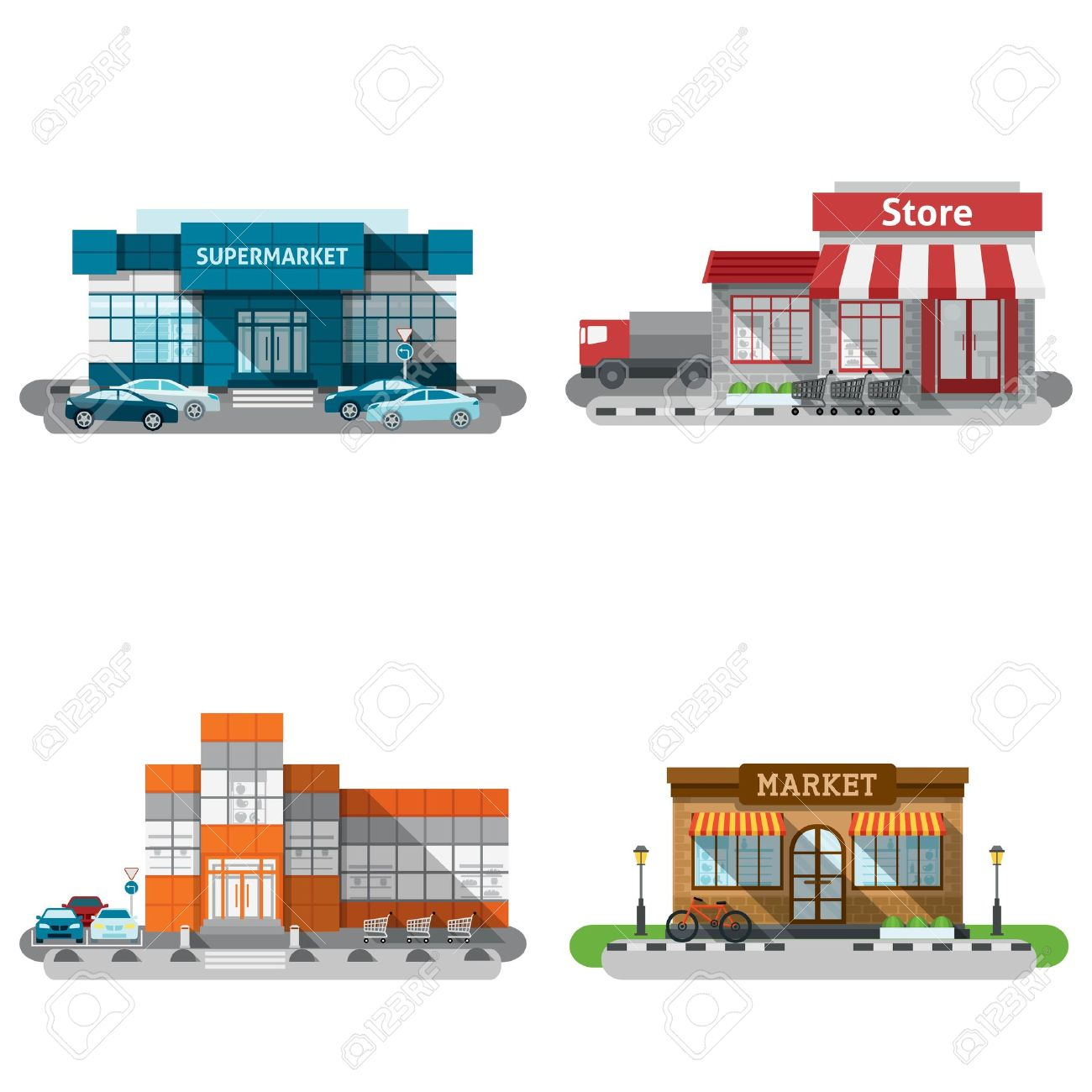 Shops Stores And Supermarket Buildings Flat Decorative Icons Set Isolated Vector Illustration Stock Vector 42462526