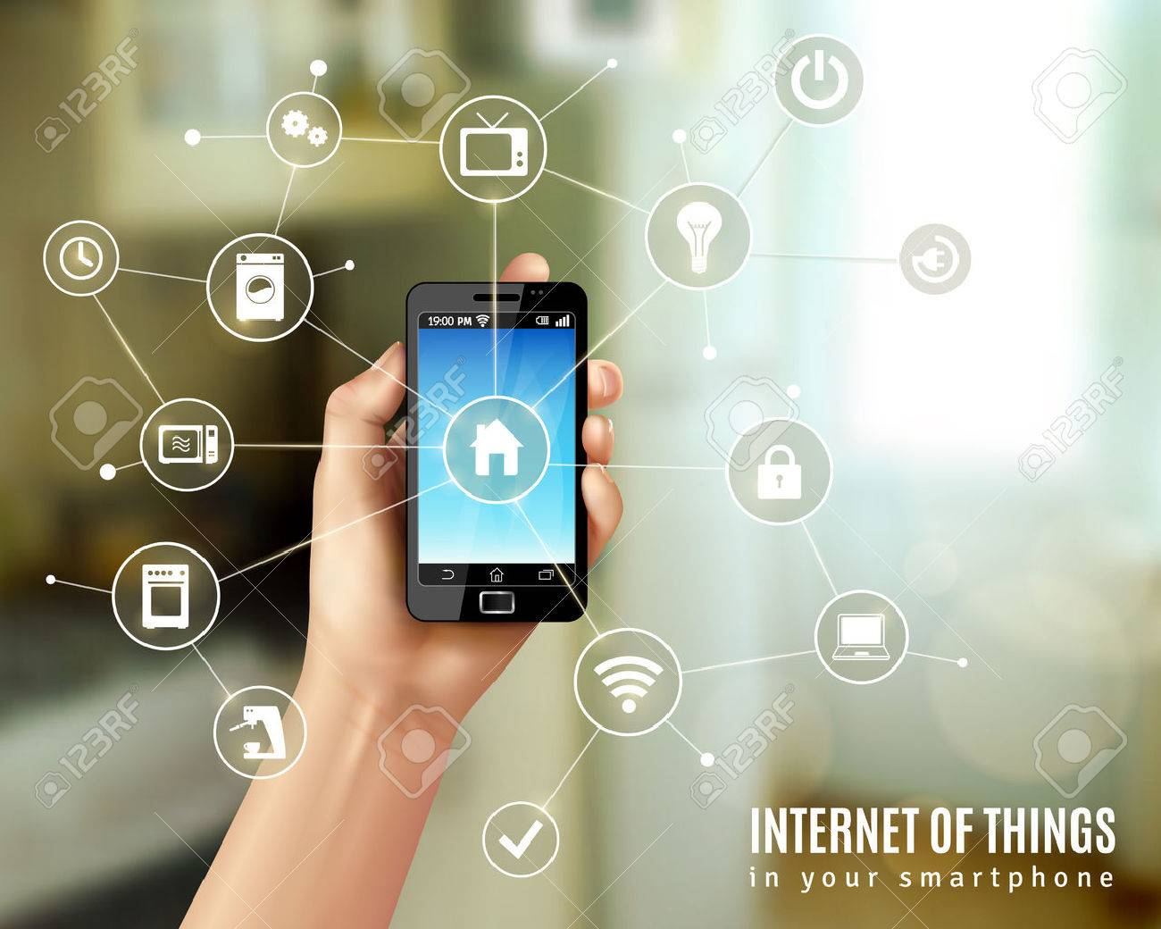 Internet of things concept with realistic human hand holding smartphone vector illustration - 42462567