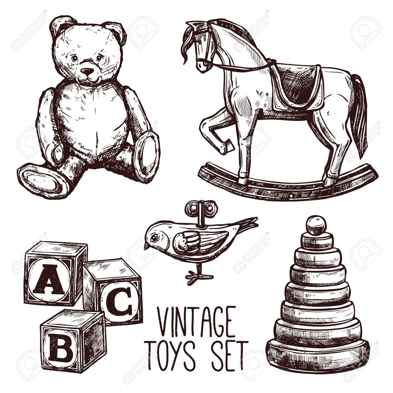 Vintage Toys Set With Sketch Teddy Bear Rocking Horse And Pyramid Royalty Free Cliparts Vectors And Stock Illustration Image 42622642
