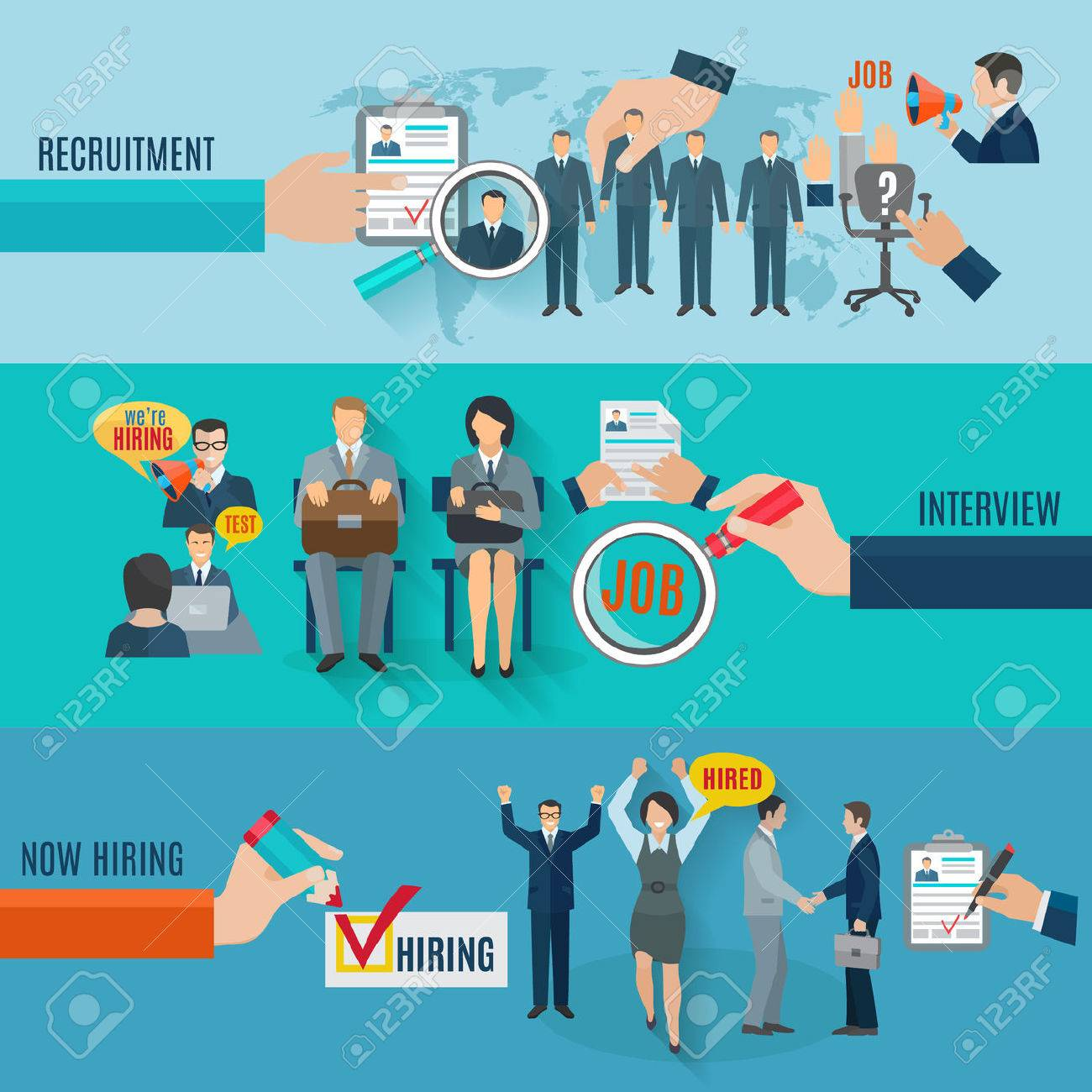 Hire horizontal banner set with recruitment interview flat elements isolated vector illustration - 42622816
