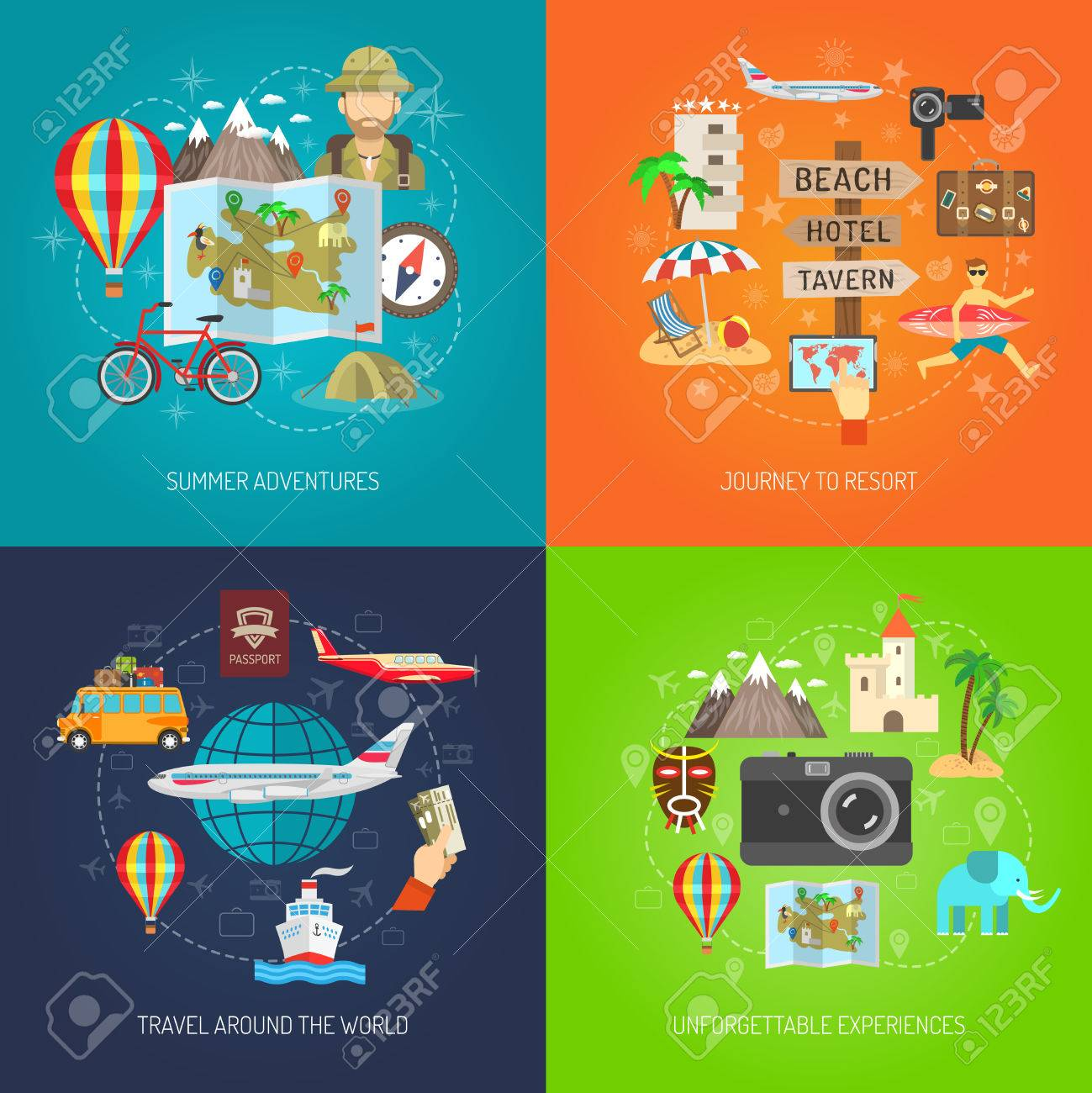 Summer adventure journey to resort and travel around world flat color decorative icon set isolated vector illustration - 42623905