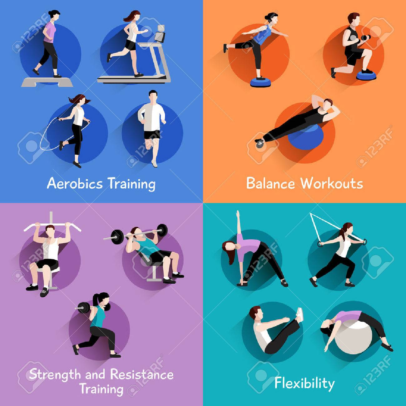 Fitness aerobic strength and body shaping exercises 4 flat icons square composition banner abstract isolated vector illustration Stock Vector - 42623961