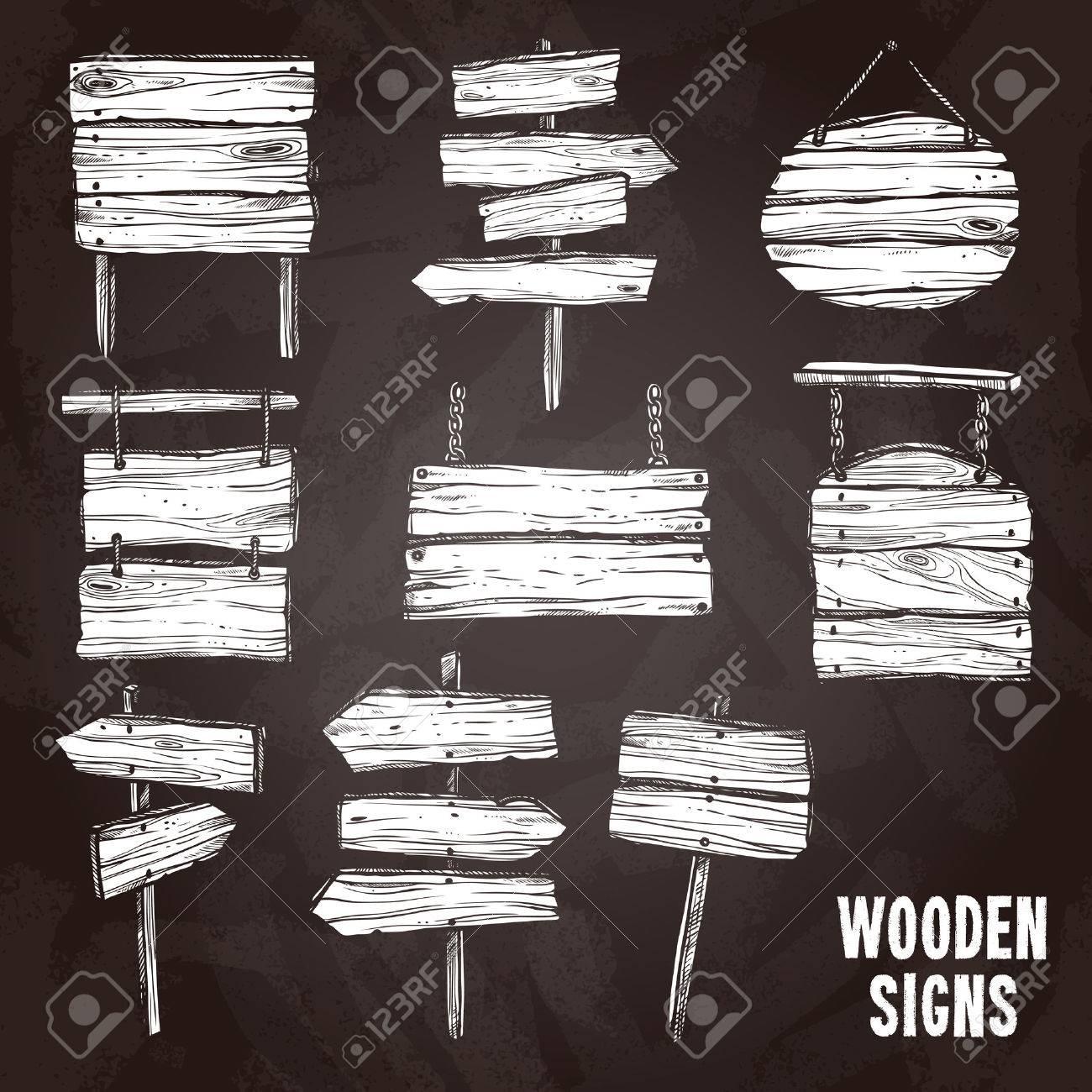 Geliefde Houten Teken Palen En Planken Op Bord Vlakke Schets Icon Set  @YI16