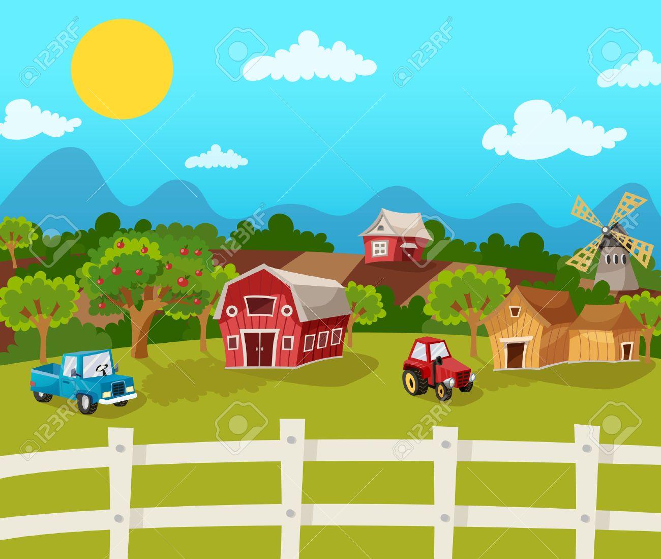 Farm cartoon background with apple garden in rural landscape vector illustration - 42624371