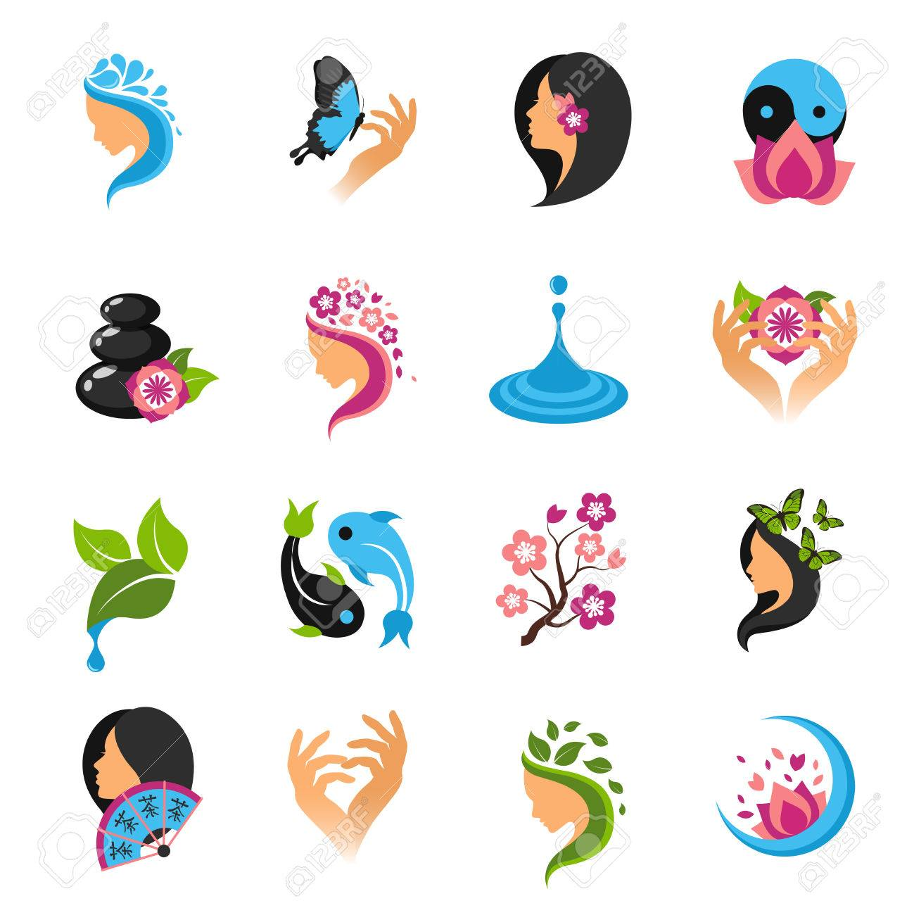 Wellness icon  Beauty Salon Abstract Female Care And Wellness Icons Set Isolated ...